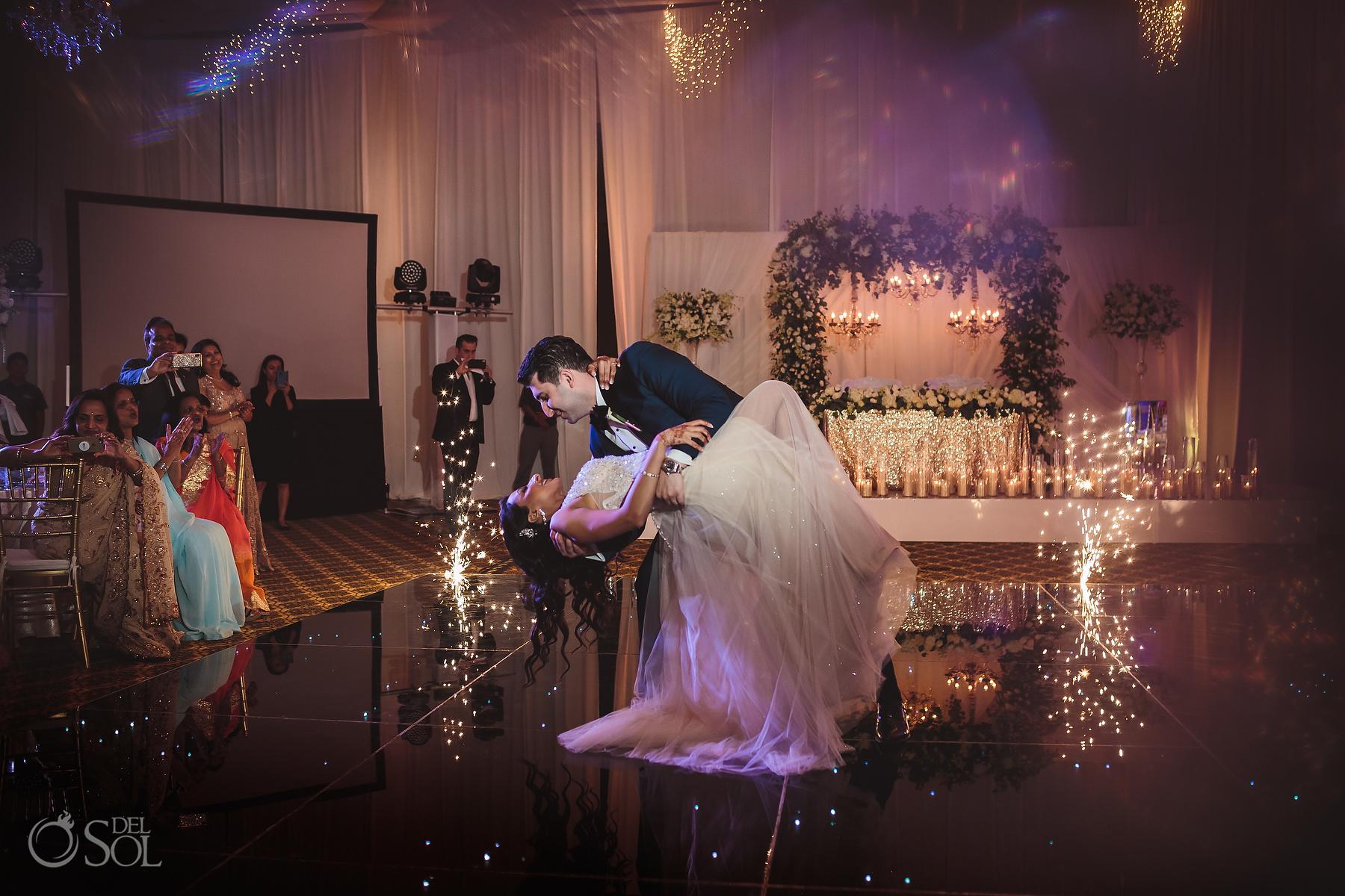 First Dance cold Fireworks Tulum Jewish Wedding Reception