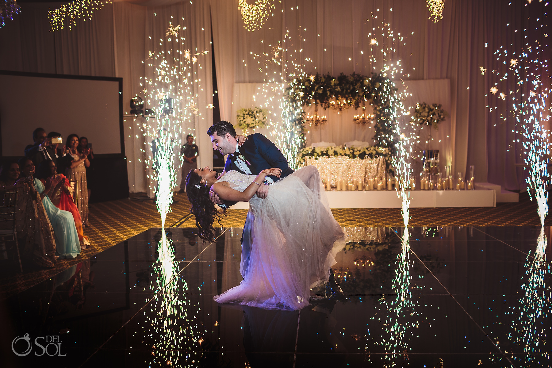 Bride and Groom First Dance cold Fireworks Tulum Jewish Wedding Reception Ballroom
