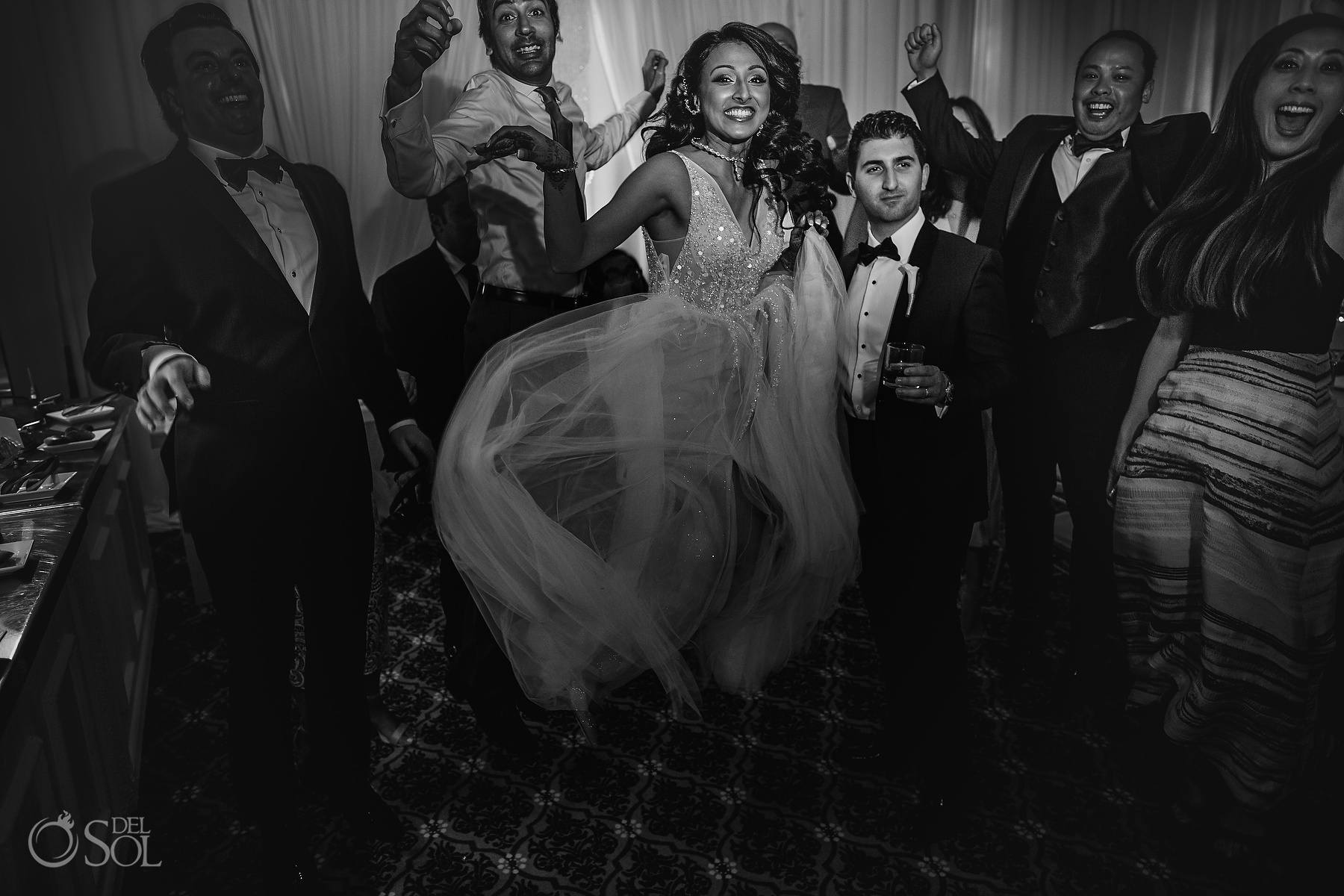 Black and White Documentary Photography Happy Indian Bride Embroidered white tulle bridal dress Dreams Tulum Jewish Wedding Reception