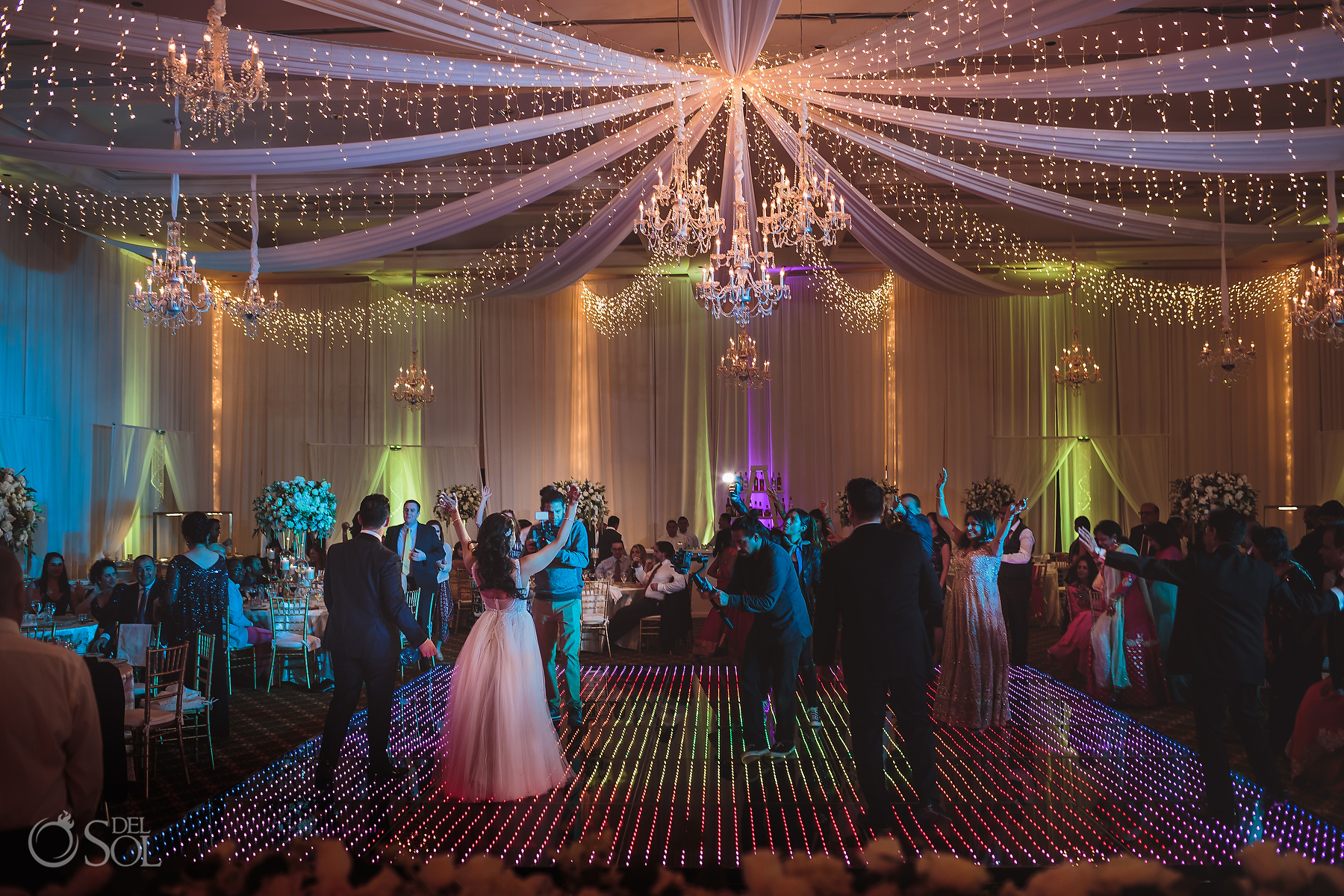 Massive chandelier decoration Dance Floor Tulum Jewish Wedding Reception