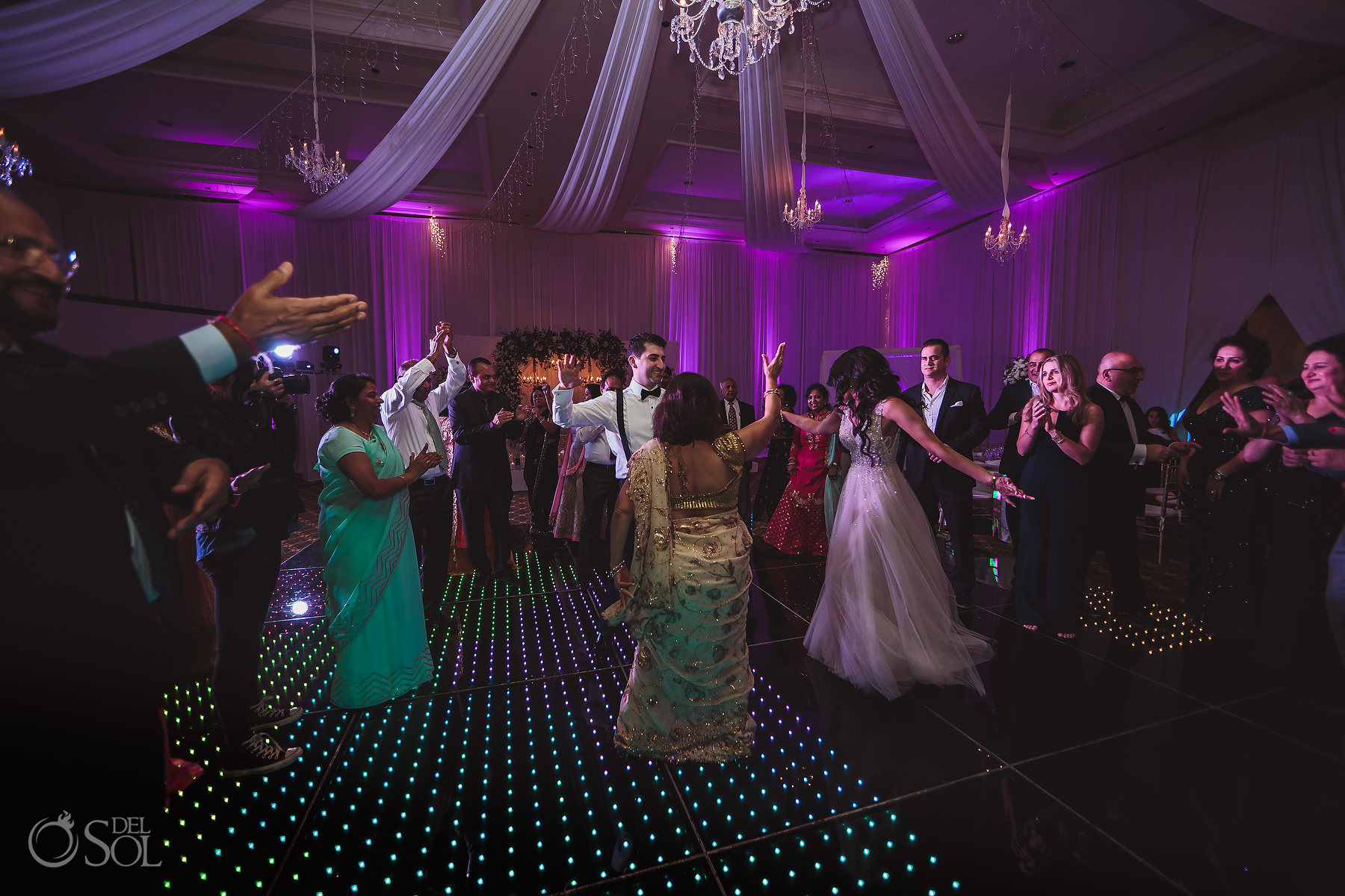 Multicultural family dance Dreams Tulum Jewish Wedding Reception