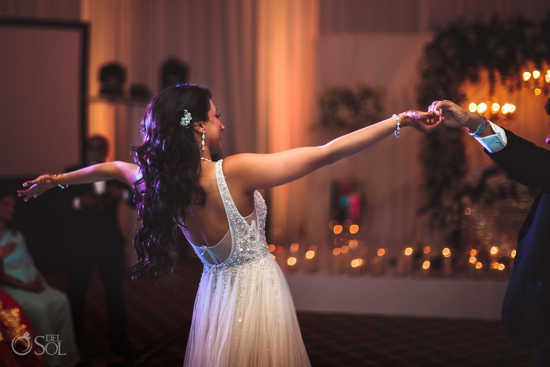 open back wedding dress Dreams Tulum Jewish Wedding Reception