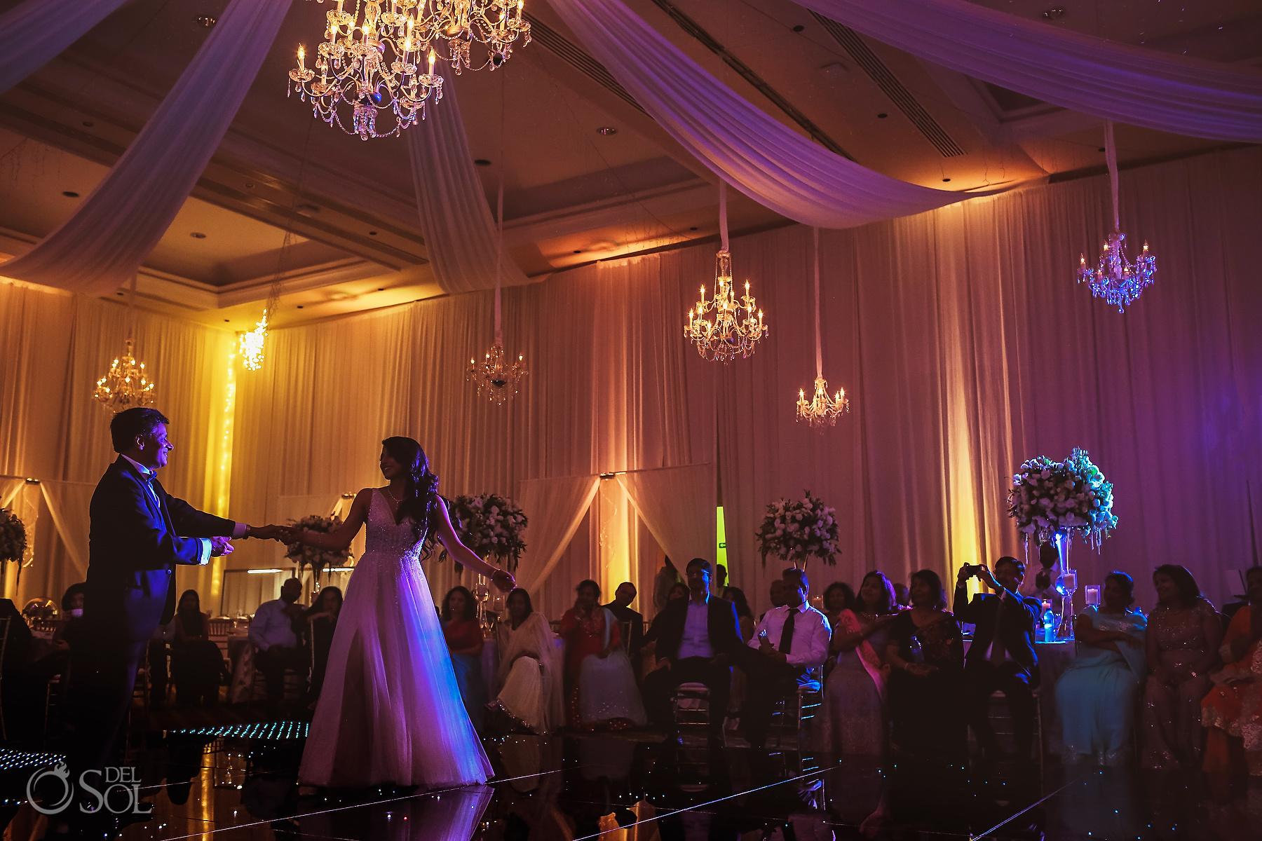 Epic Chandelier decoration First dad dance Tulum Jewish Wedding Reception