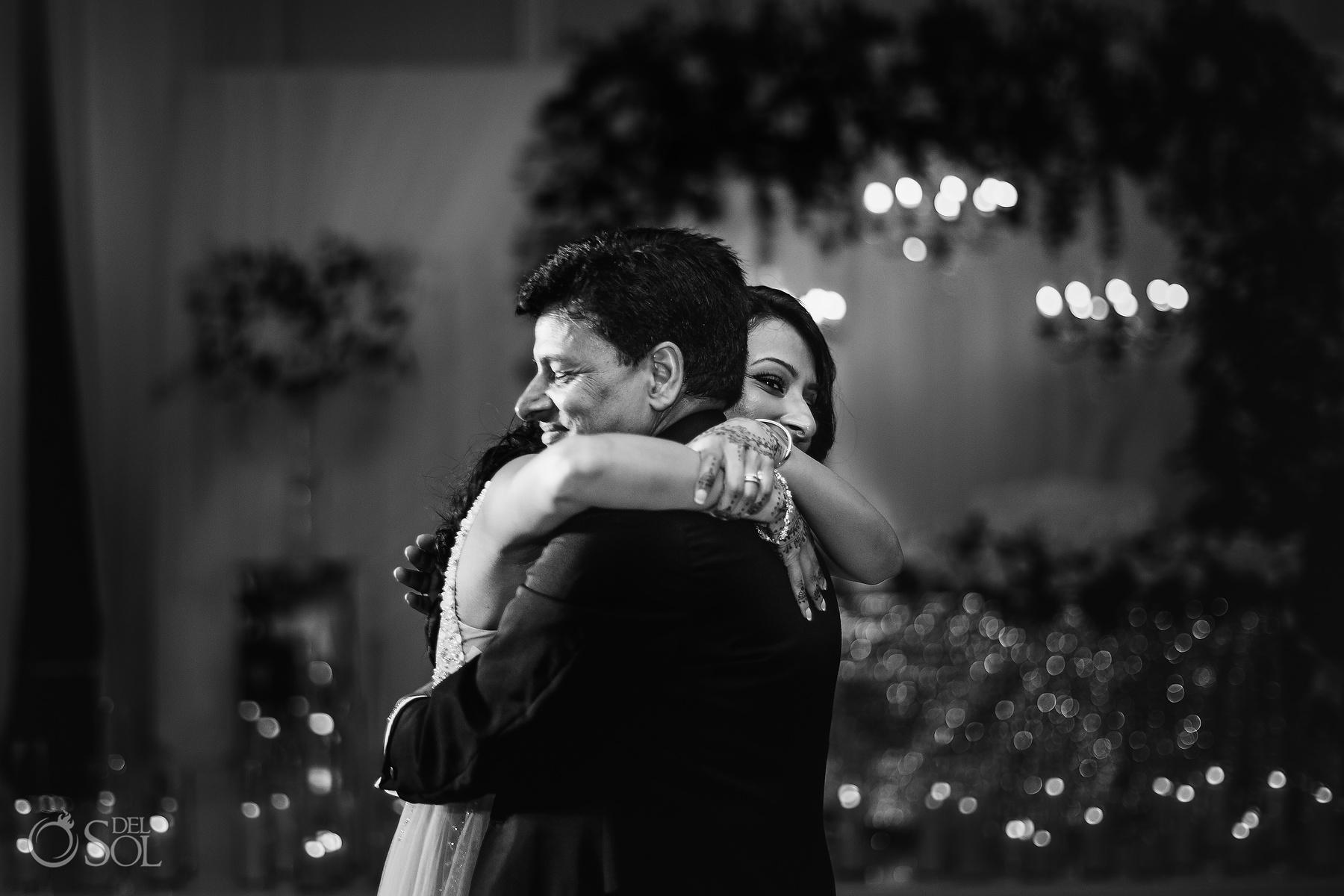 Emotive Dad Bride Black and Withe dance Dreams Tulum Jewish Wedding Reception