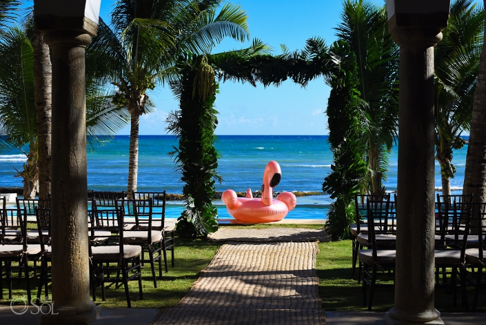 Beach Front Ceremony Pink Flamingo riviera maya villa wedding Puerto Aventuras