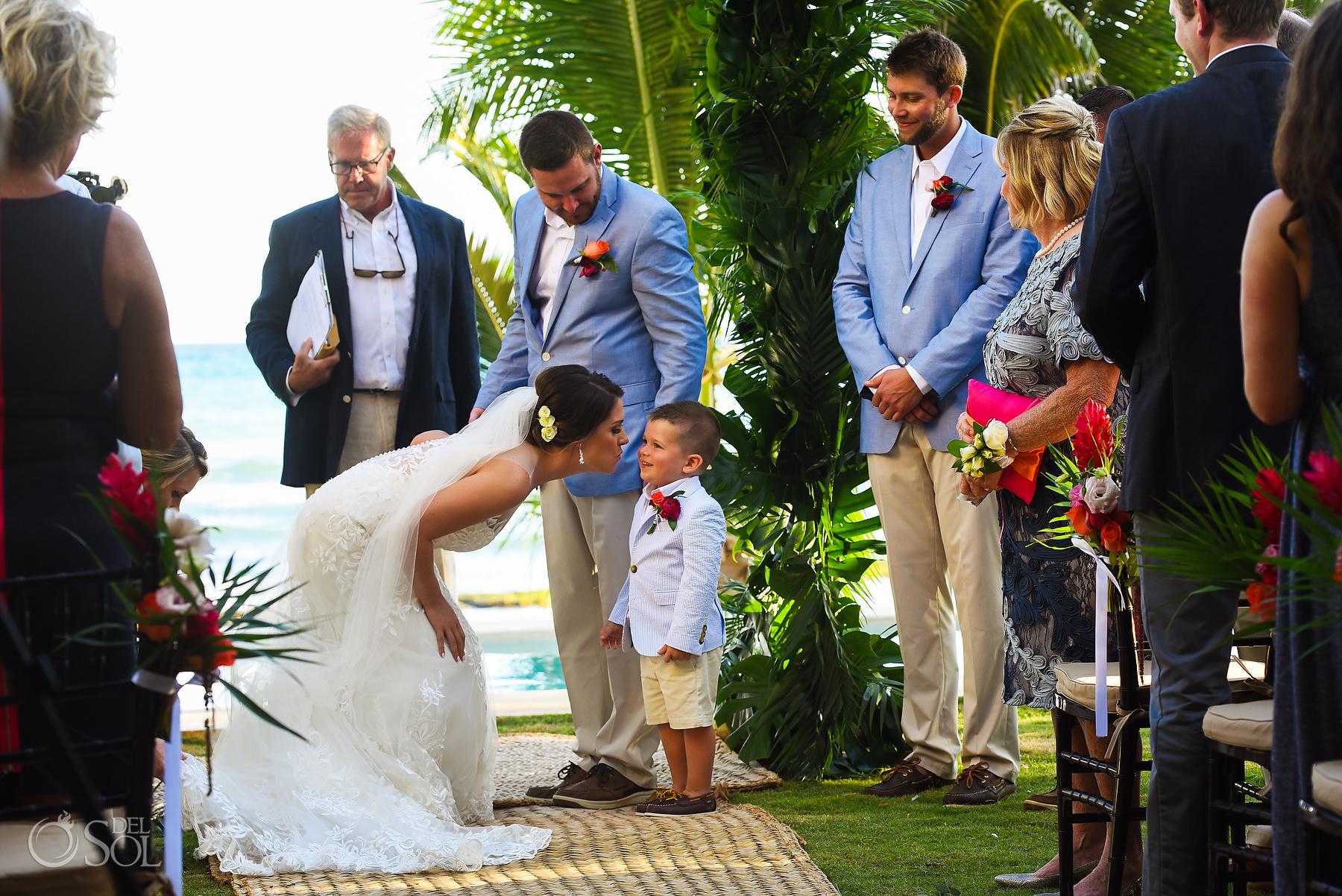 Beach Front Ceremony Best Bride and Son Photography riviera maya villa wedding