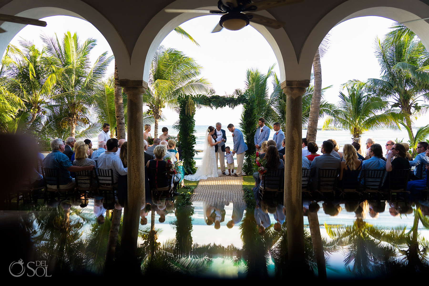 Photo reflection Hacienda Corazon BeachFront Ceremony Green decoration ideas riviera maya villa wedding