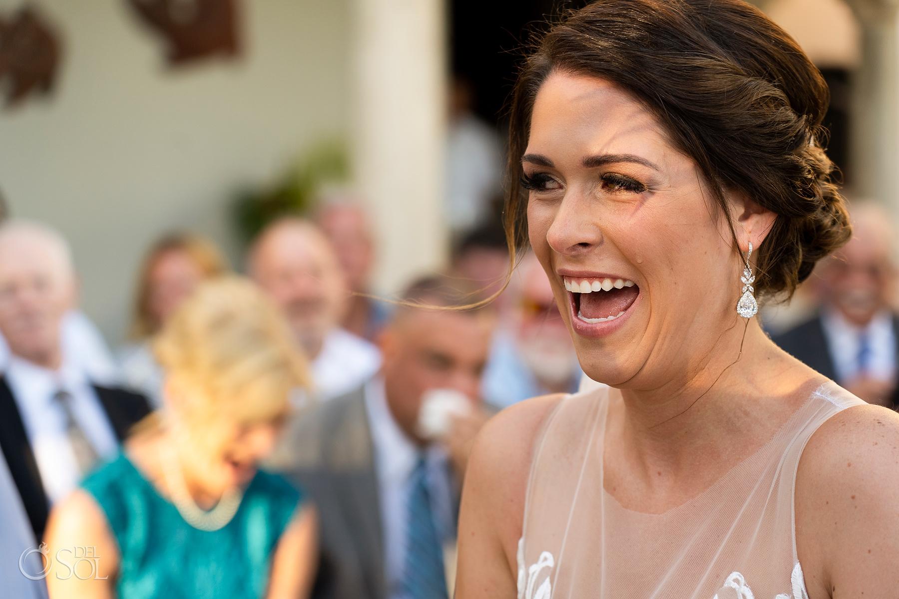 Expressive Laugh Bride riviera maya villa wedding