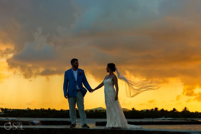 Long Veil Just married session Puerto Aventuras Sunset riviera maya villa wedding