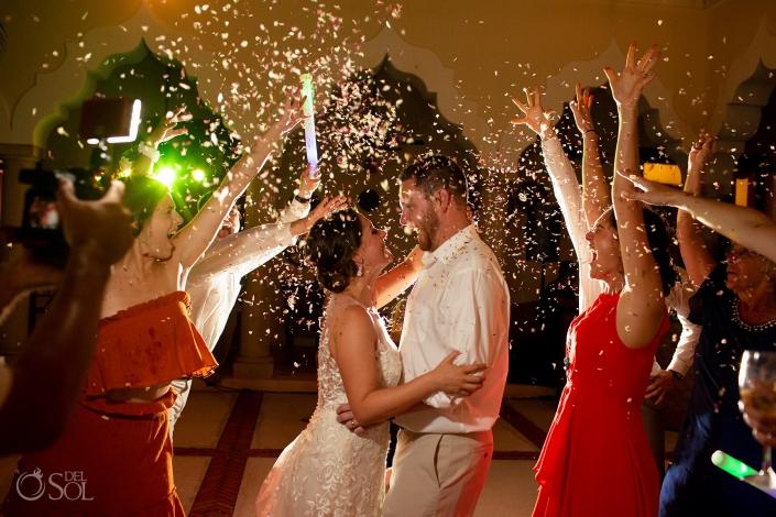 confetti just married dance riviera maya villa wedding
