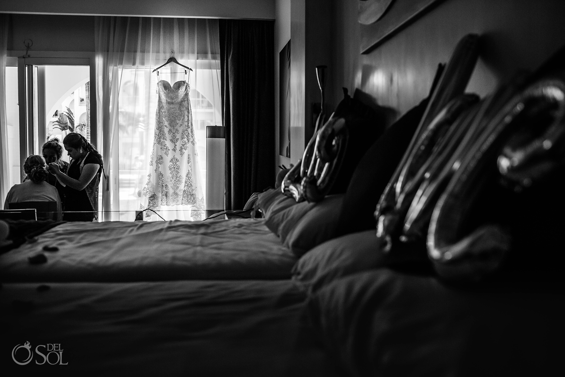 Getting Ready Long Embroidered bridal Essence of Australia gown Riu Palace Mexico Suite