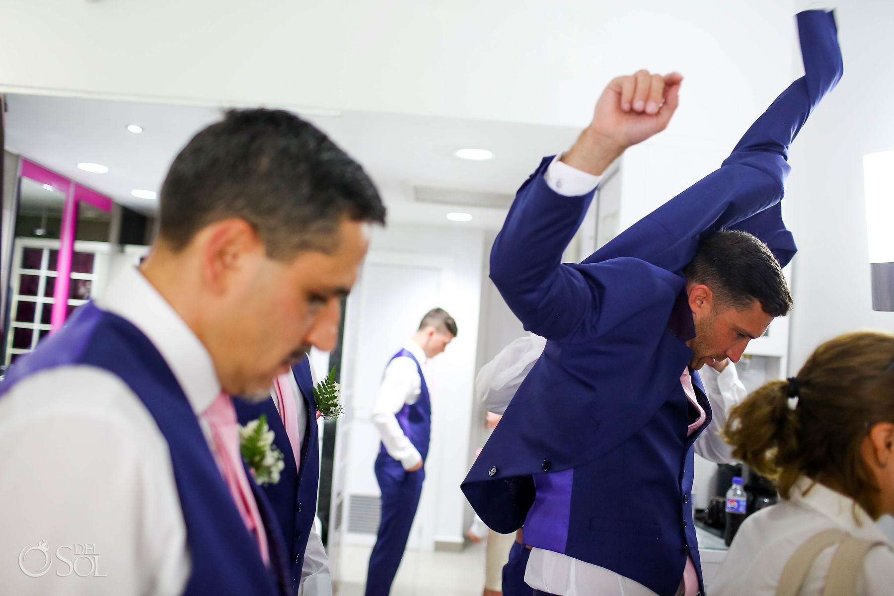 Groom Getting Ready Ted Baker Deep blue suit Riu Palace Mexico Suit