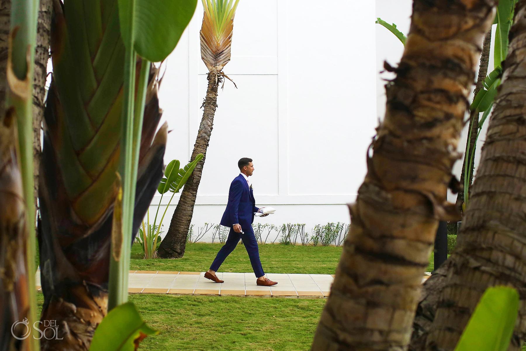 Groom walking to the aisle Riu Palace Mexico Wedding Photographer