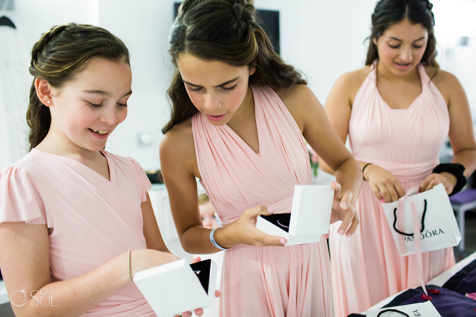 bridal party with pandora jewelry gifts