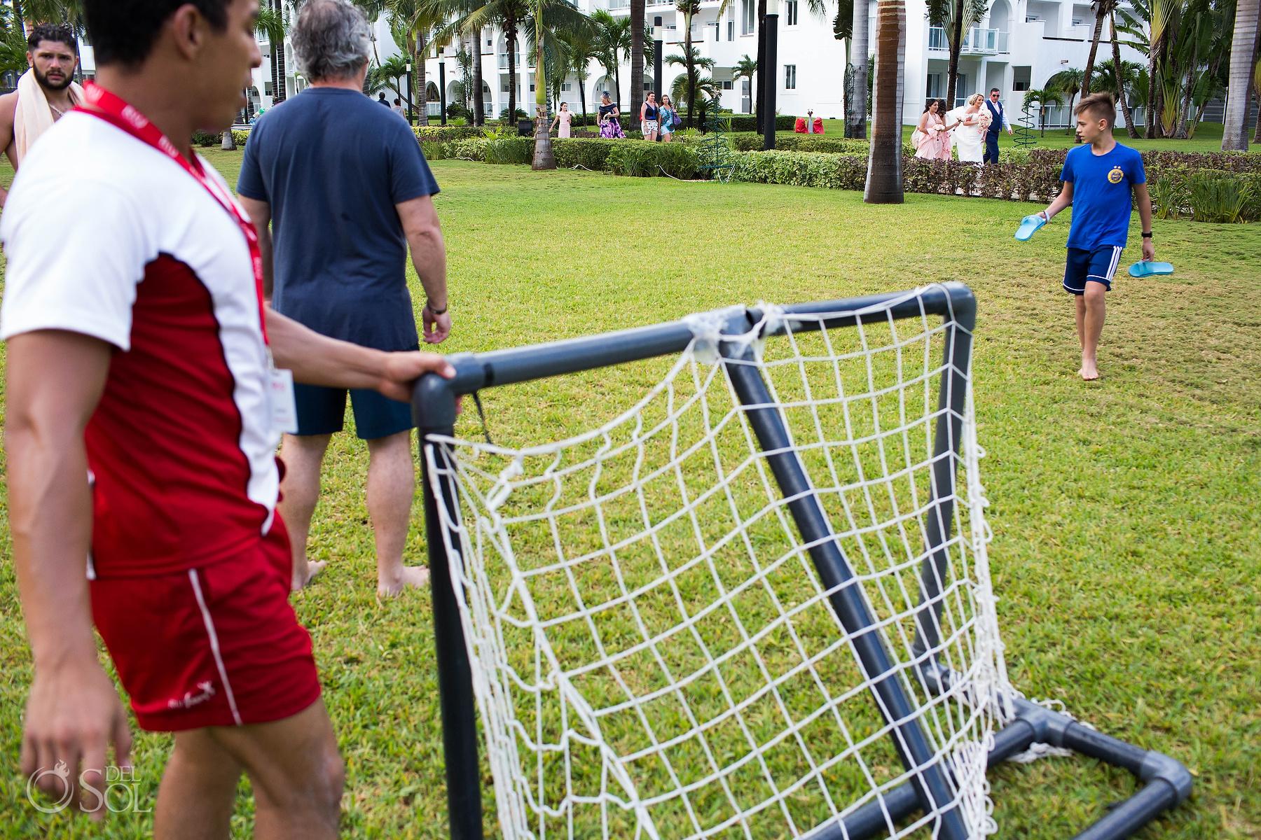 soccer wedding walk Riu palace mexico