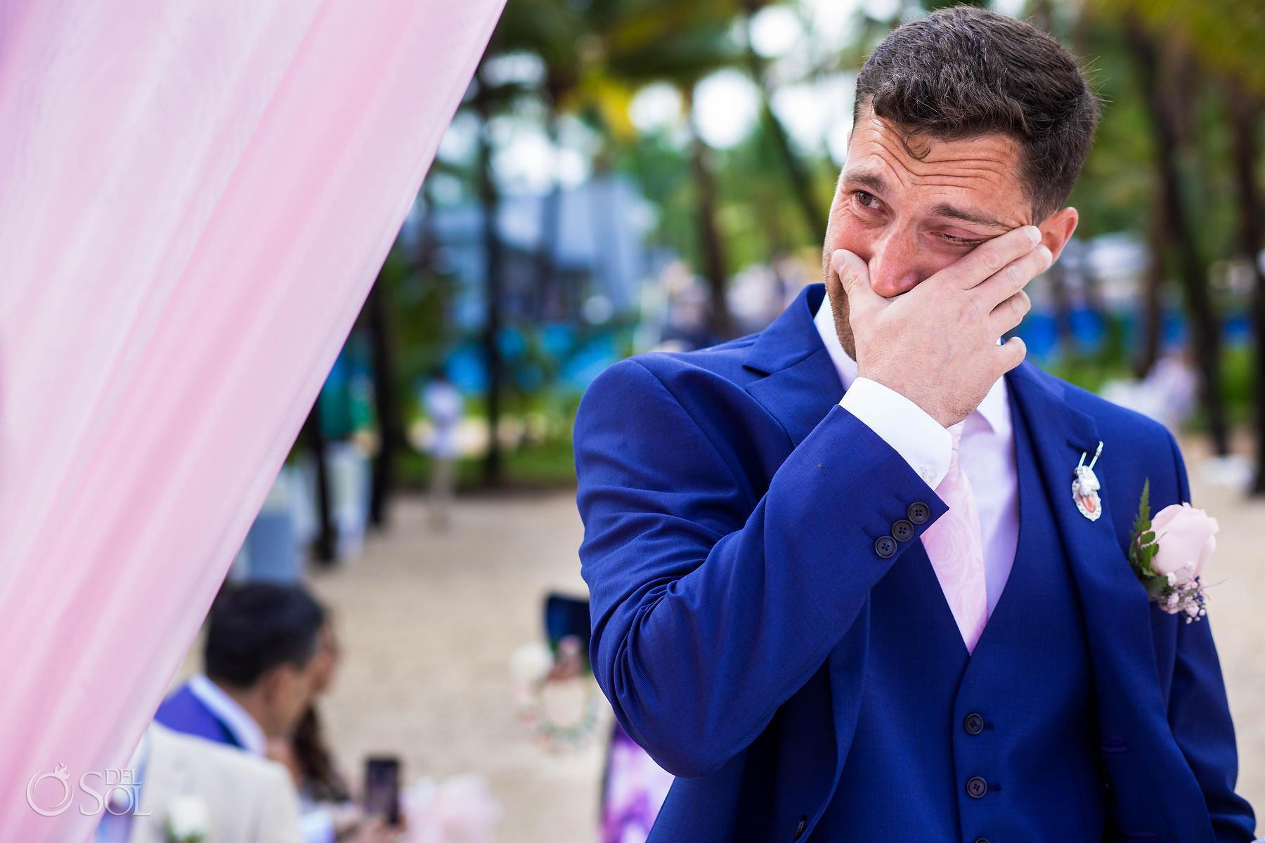 Emotional Groom Waiting at the beach wedding gazebo