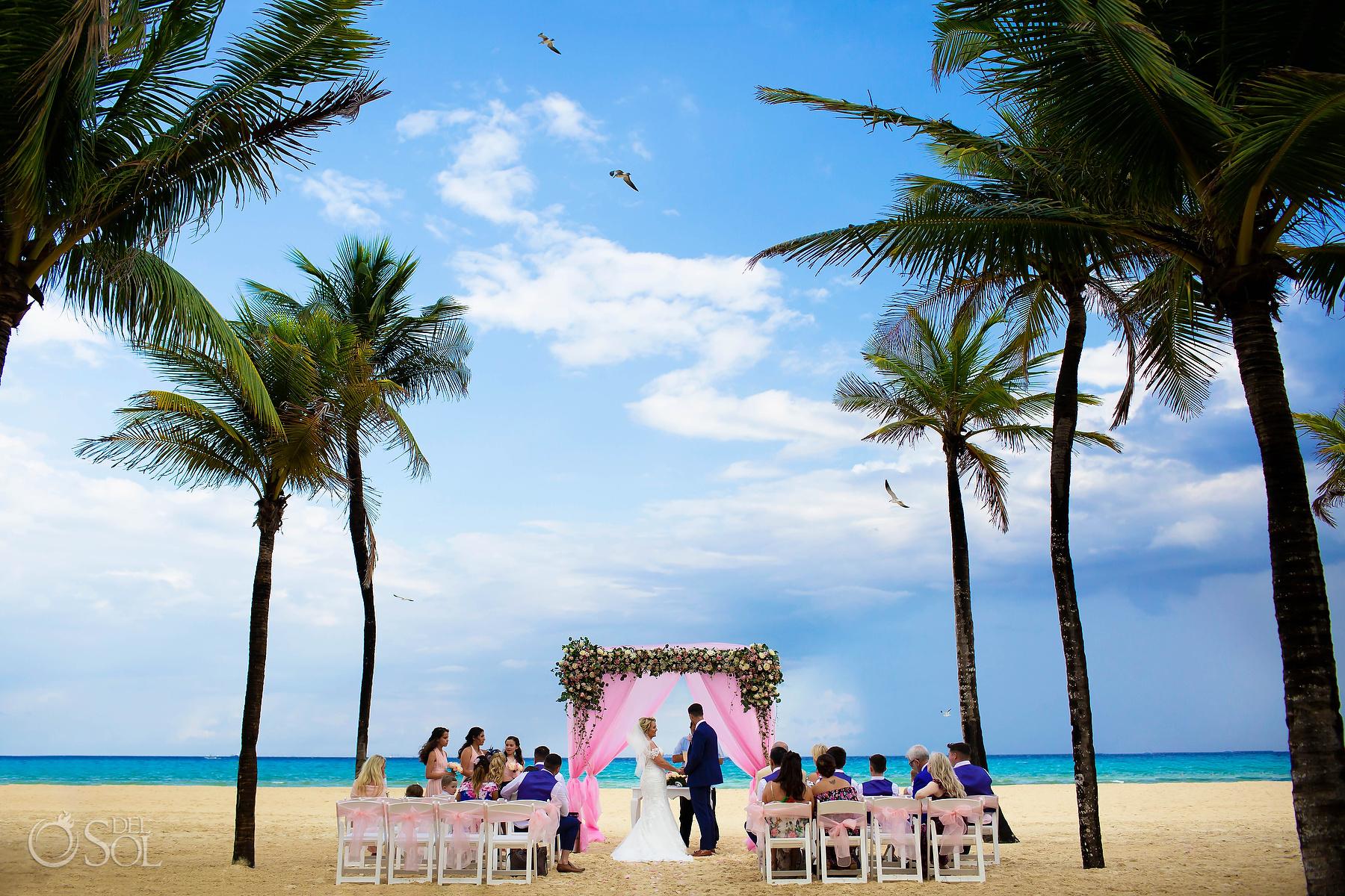 Riu Palace Mexico wedding photographer beach ceremony set up Playa del Carmen Mexico