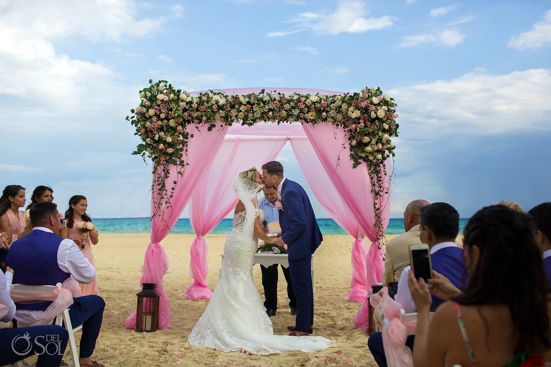 First Kiss Just married Riu Palace Mexico Riviera Maya Beach