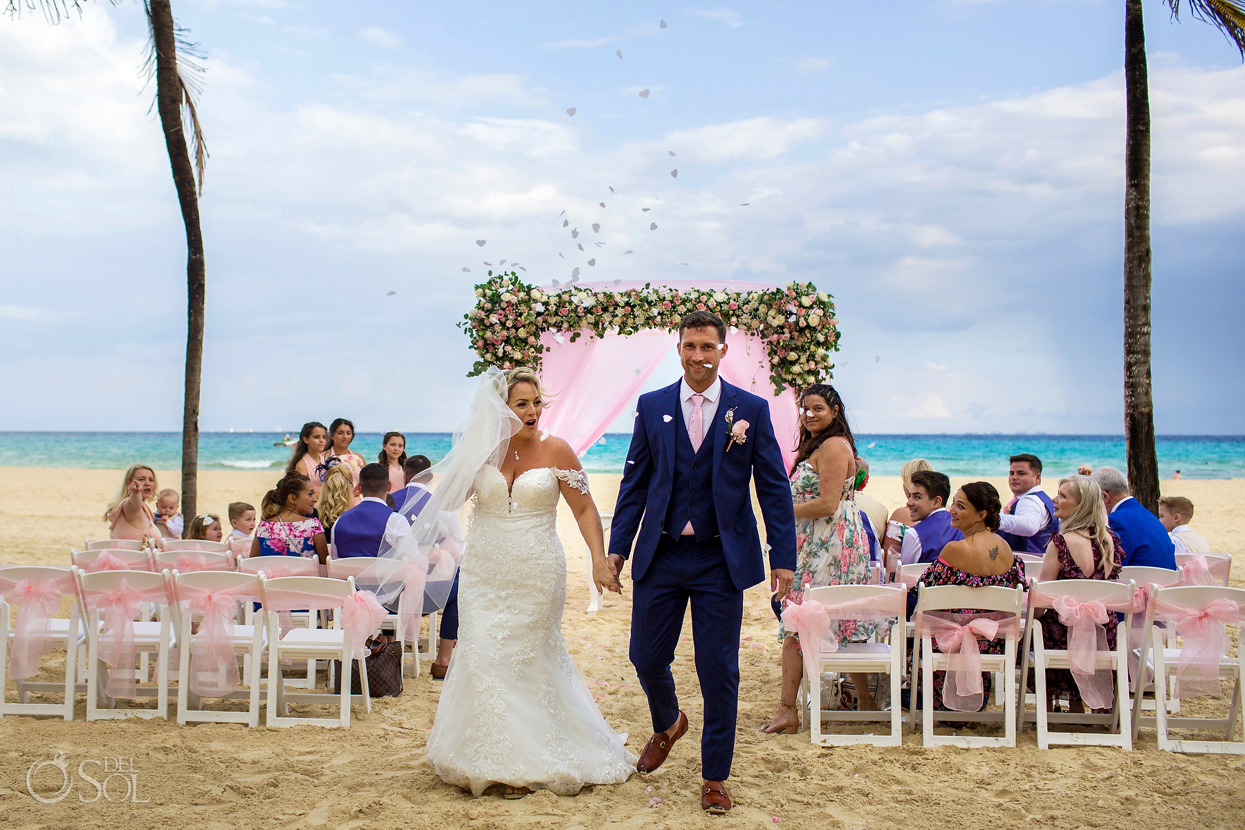 Just Married Petals Confetti Riu Palace Mexico Wedding Photographer