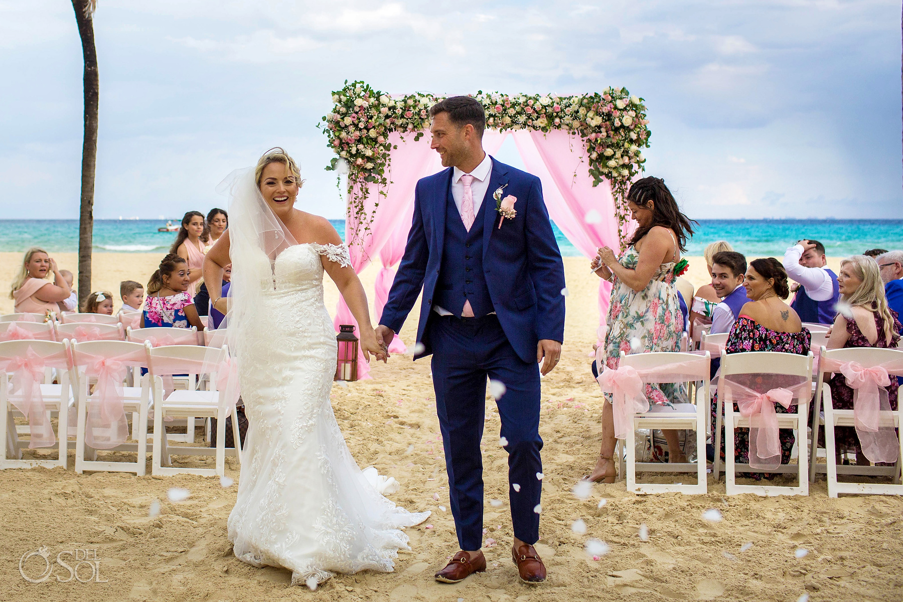 Bride and Groom roses petals confetti Riu Palace Mexico Beach
