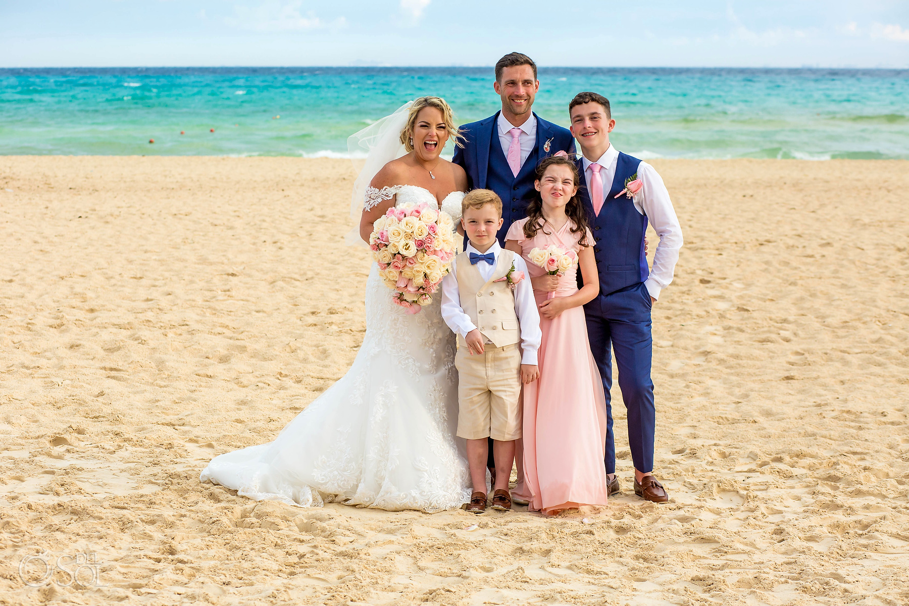 Fun family portrait at Riu Palace Mexico Wedding Photographer