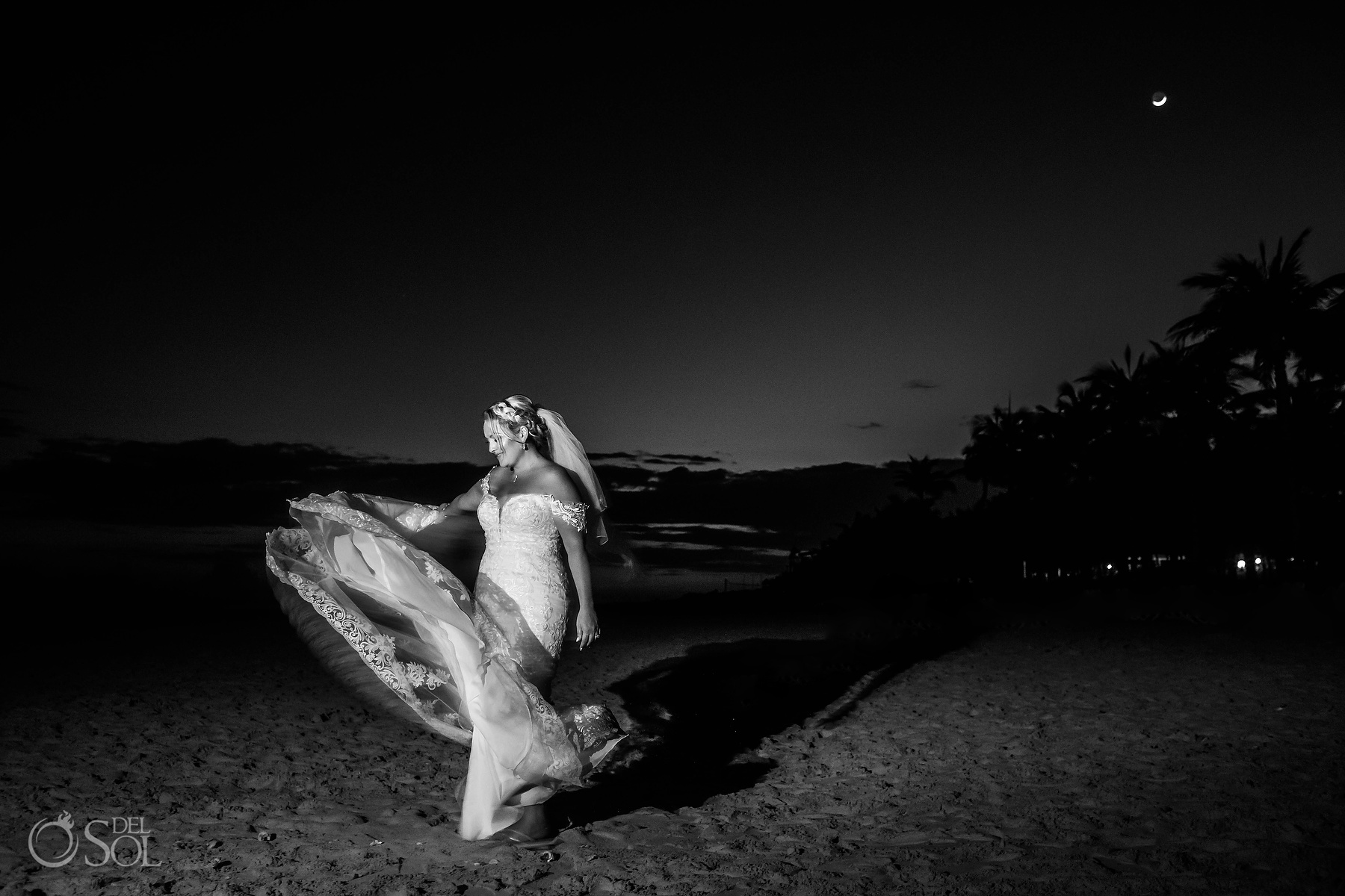 Bride beach night photoshoot with moon at Riu Palace Mexico Wedding Photographer