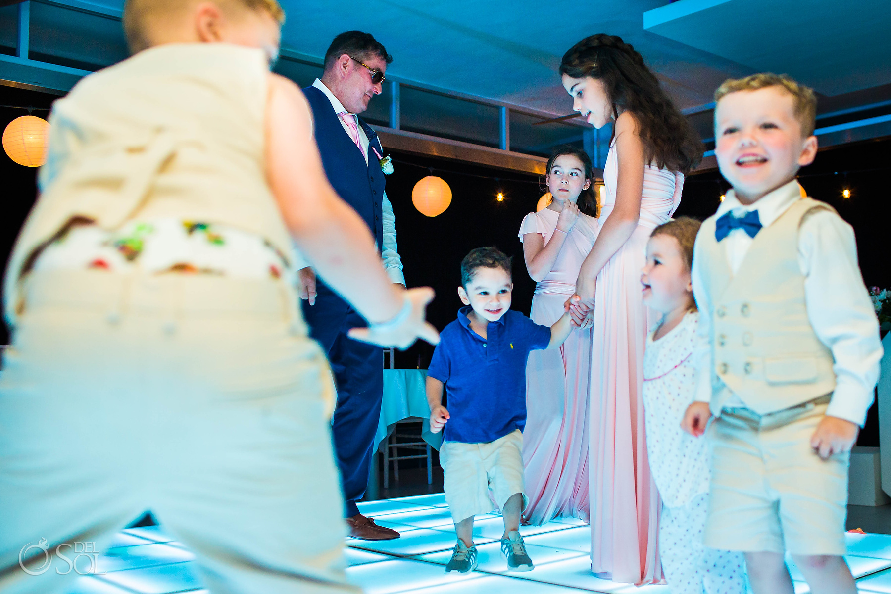 Kids having fun at wedding reception