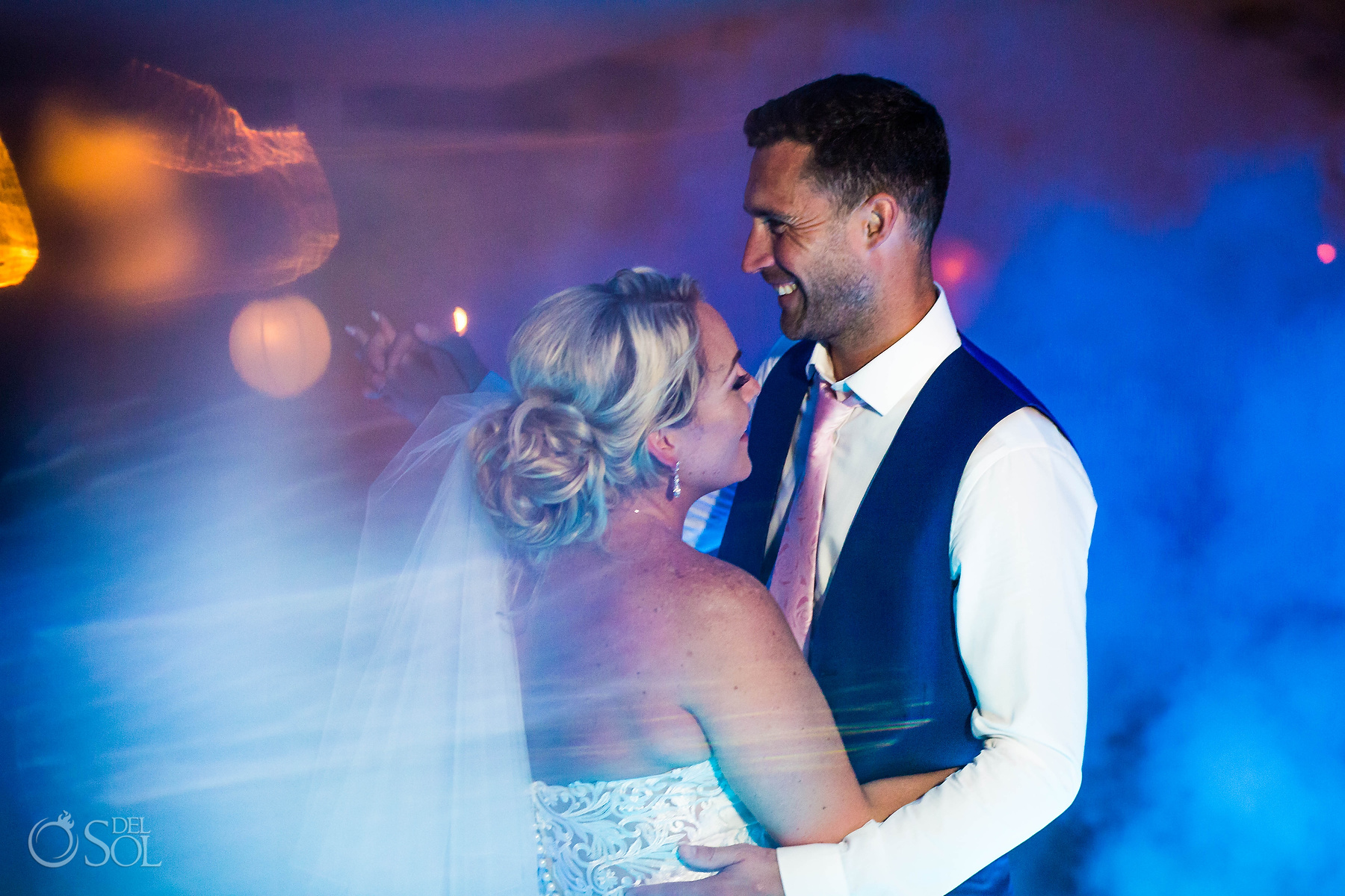 First Dance Groom Smile Riu Palace Mexico wedding photographer