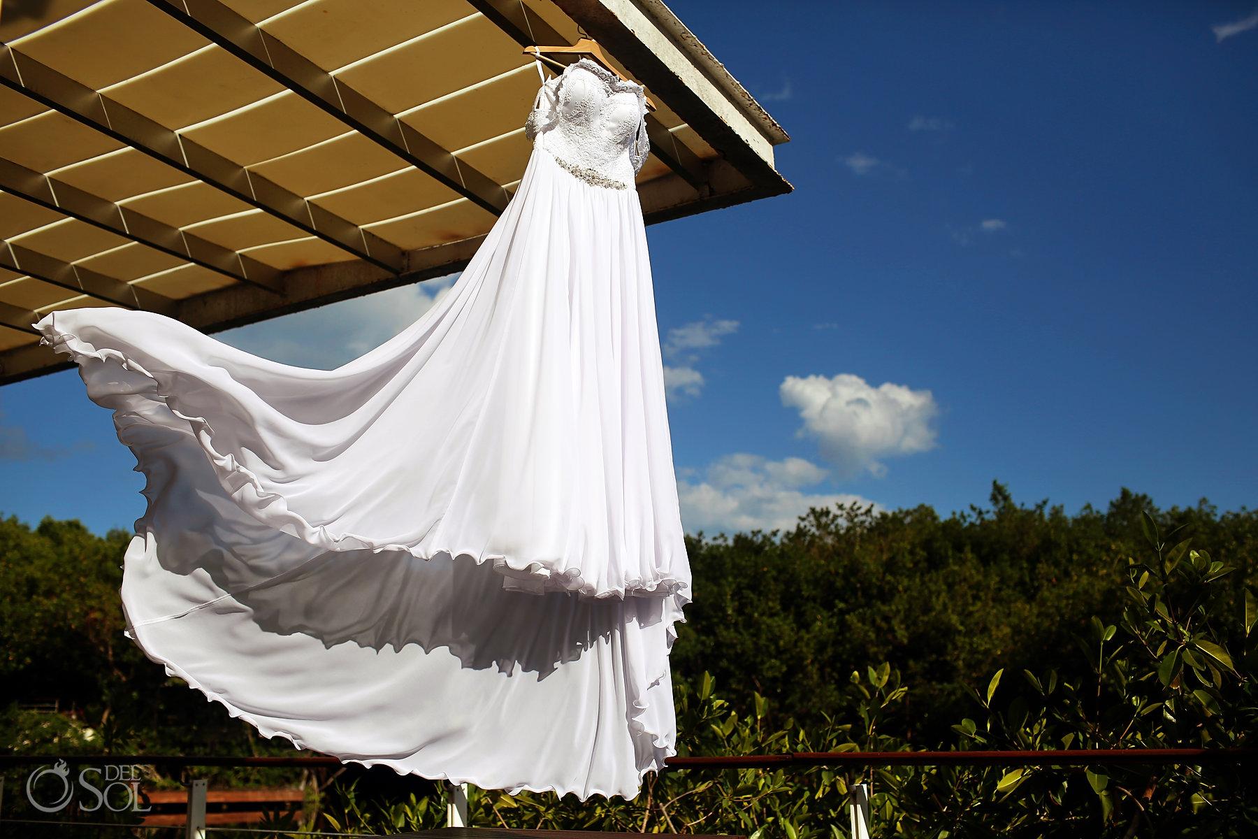 Epic long silk light Wedding Dress best elopement locations Mexico Blue Diamond Luxury Boutique Hotel