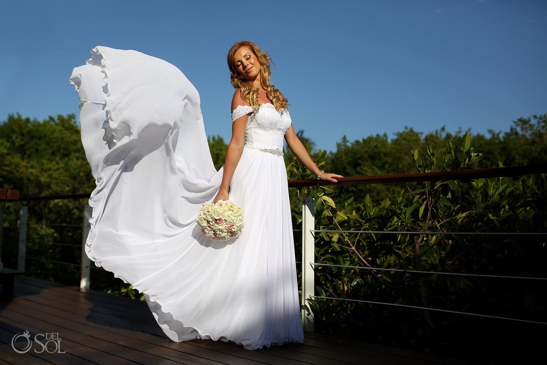 long white silk light bridal dress Riviera Maya Best Elopement Locations Mexico