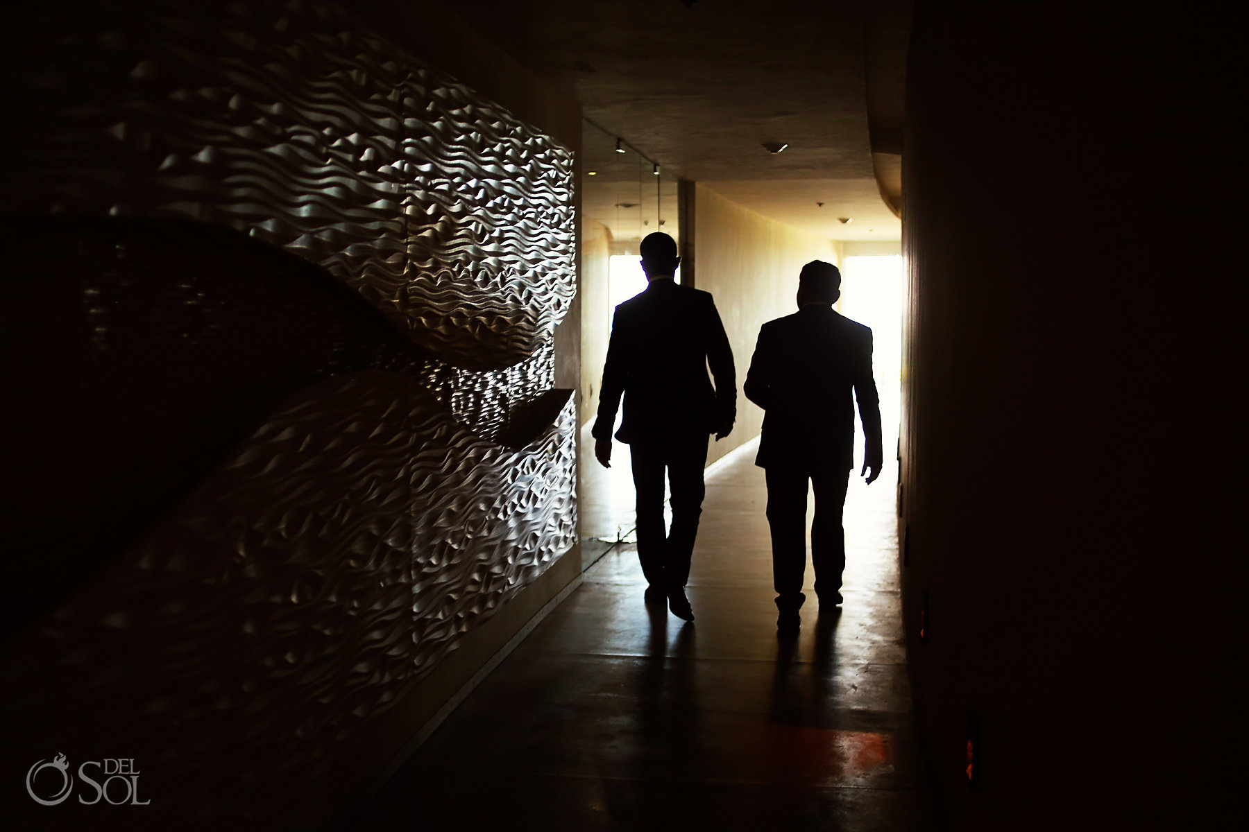 Groom walking to ceremony best elopement locations Mexico Blue Diamond Luxury Boutique Hotel