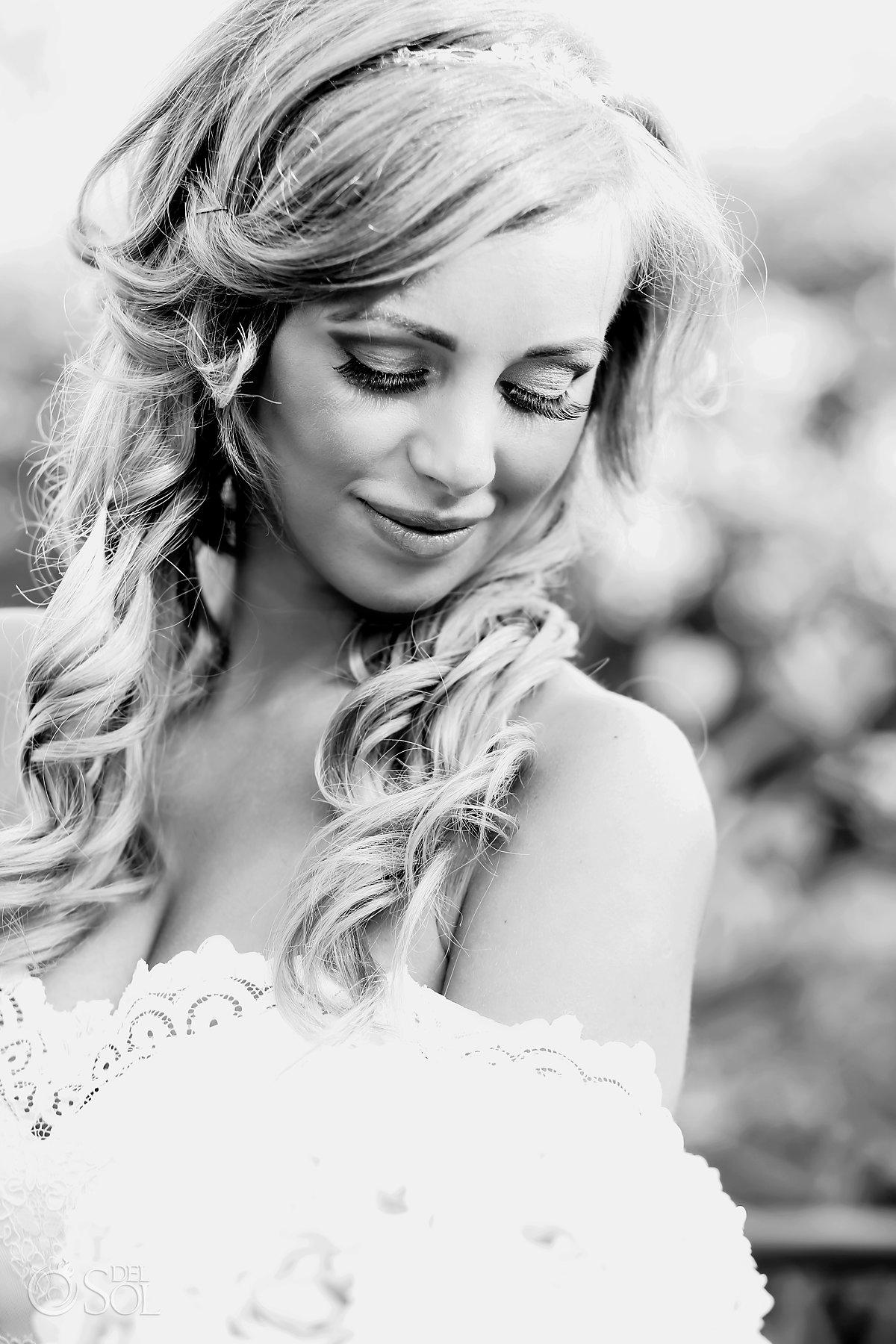 Black and White Polish Bride Portrait best elopement locations Mexico Blue Diamond Luxury Boutique Hotel