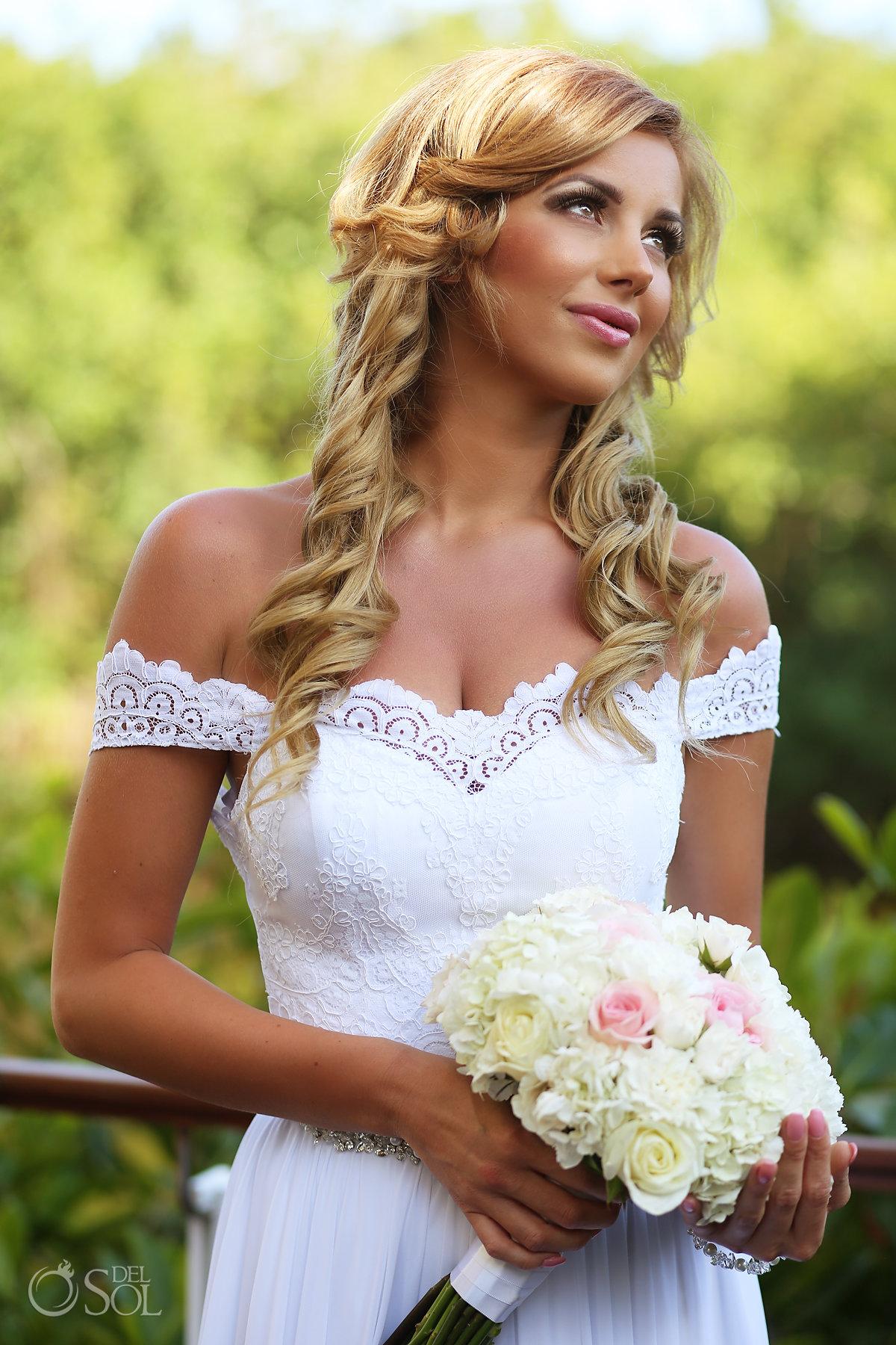 Bride Portrait Bridal Hairstyles for Long Hair best elopement locations Mexico Blue Diamond Luxury Boutique Hotel