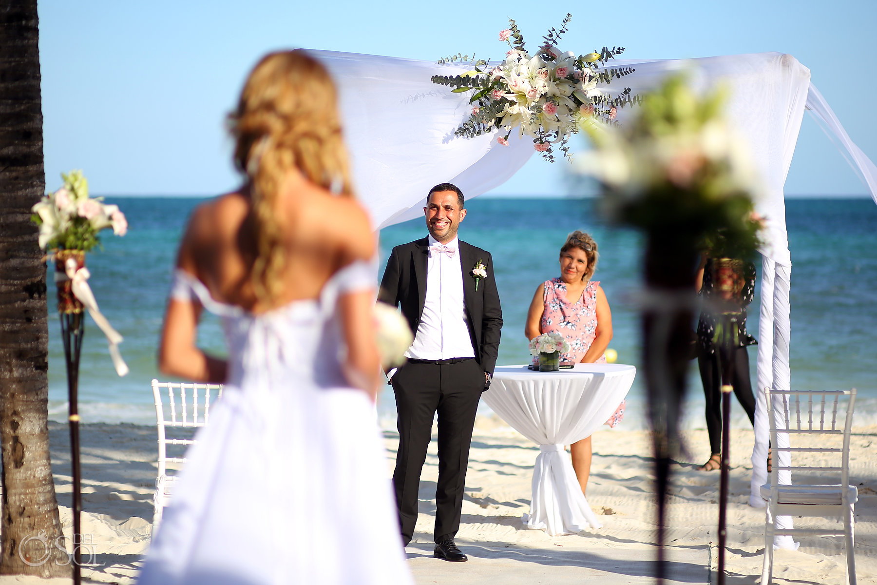 Grooms first look blue water sea ceremony setup best elopement locations Mexico Blue Diamond Luxury Boutique Hotel