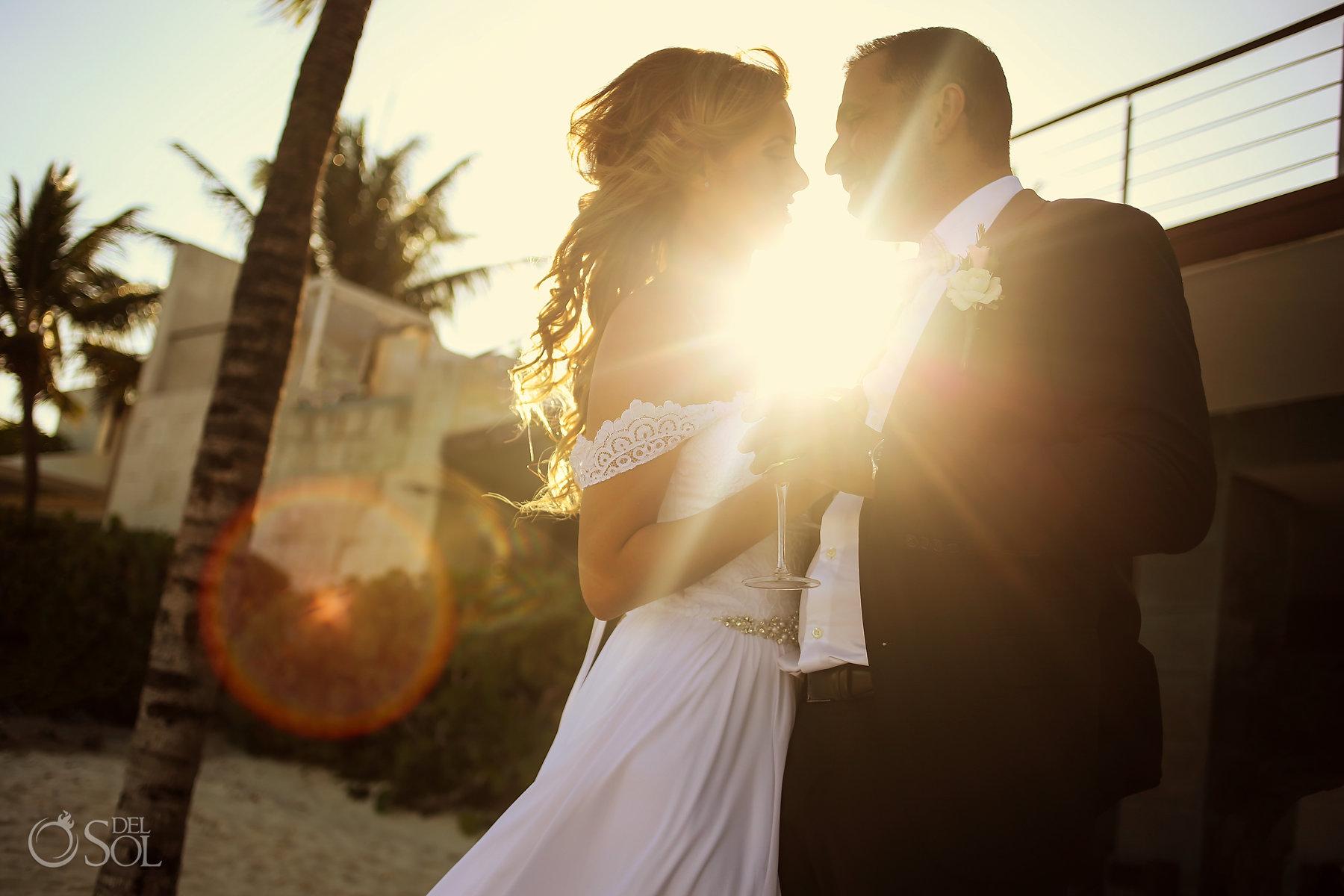Sunset backlight romantic elopement photoshoot best elopement locations Mexico Blue Diamond Luxury Boutique Hotel