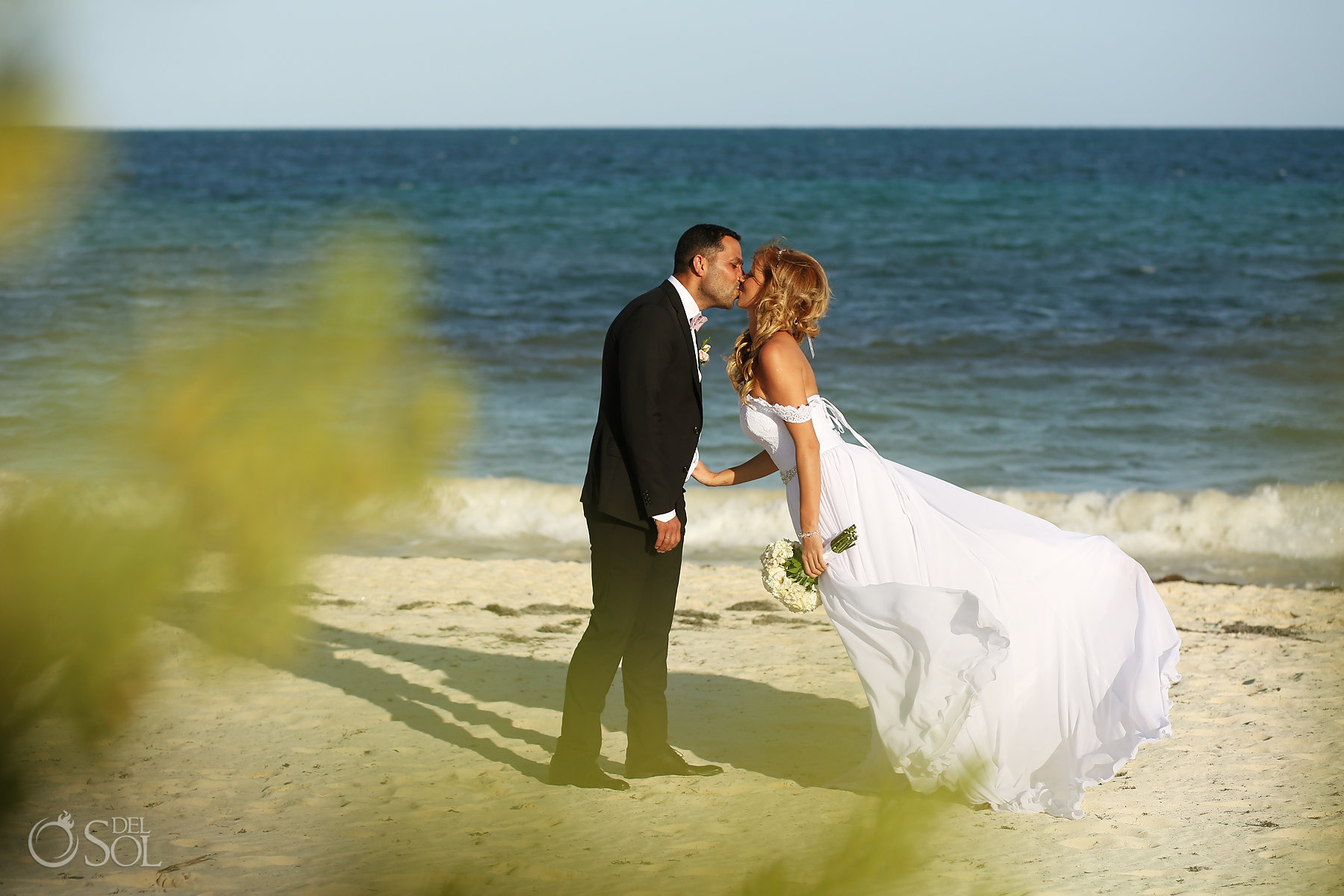 Bride and Groom Kiss Beach best elopement locations Mexico Blue Diamond Luxury Boutique Hotel