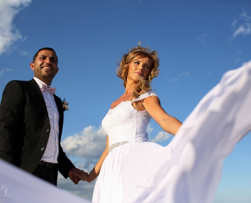 Swedish groom and polish bride photoshoot white long dress