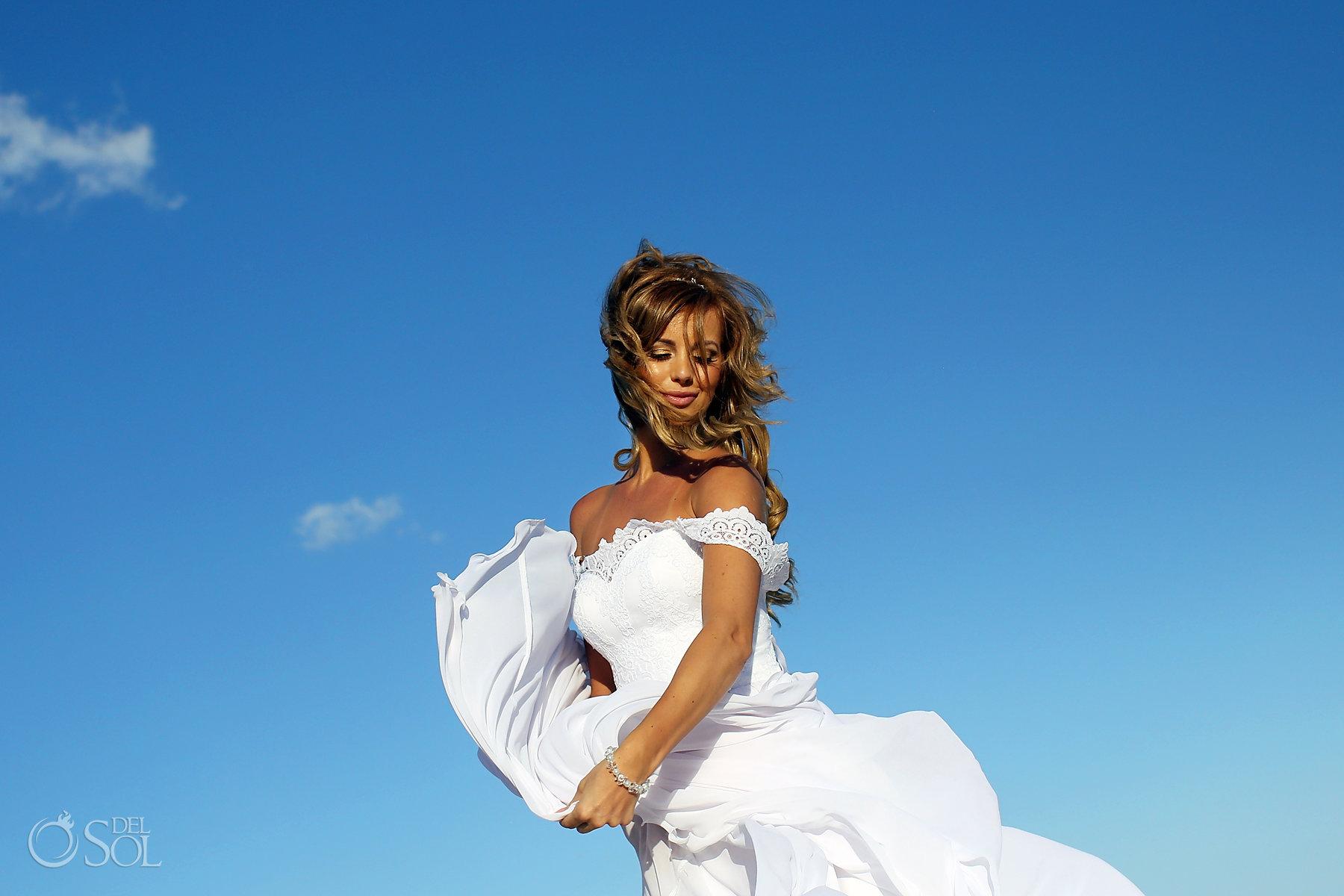 Softh light with bridal dress long bridal hair dress