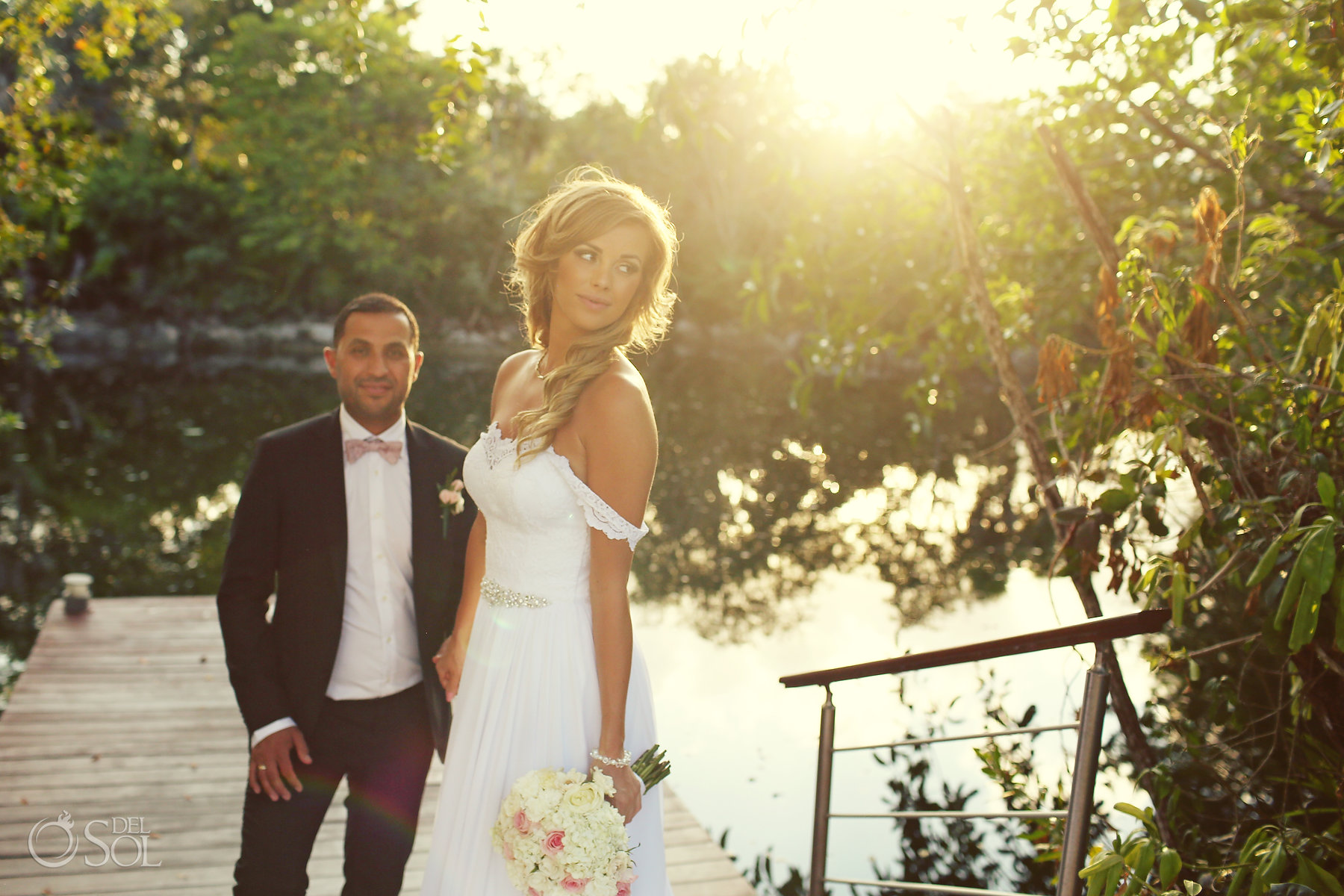 Sunset backlight bride and groom Sunset backlight bride and groom portrait at cenote Best Elopement Locations Mexico