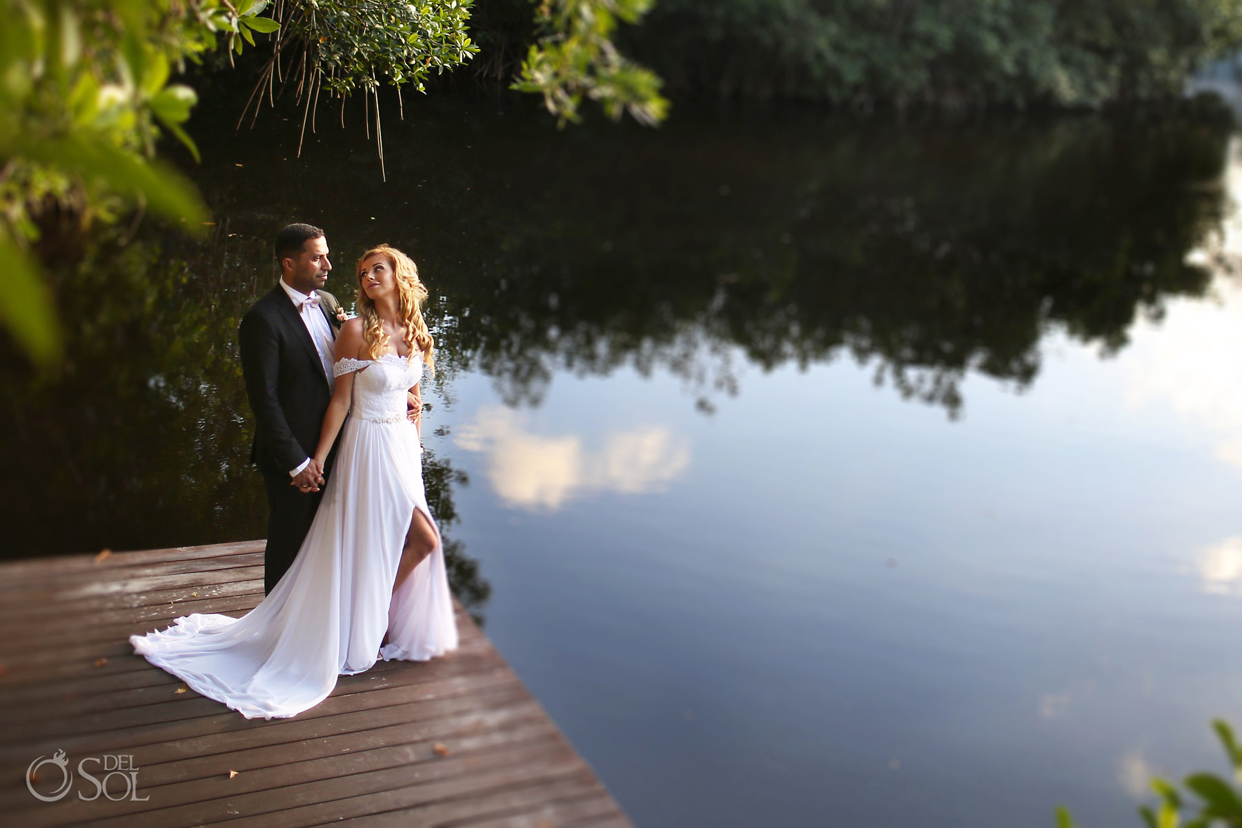 Bride and Groom Photo Session at cenote mirror best elopement locations Mexico Blue Diamond Luxury Boutique Hotel