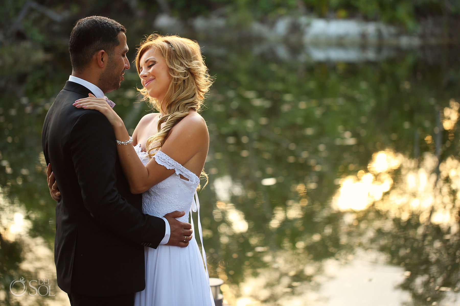 Groom and Bride photosession at amazing cenote with gold light best elopement locations Mexico Blue Diamond Luxury Boutique Hotel