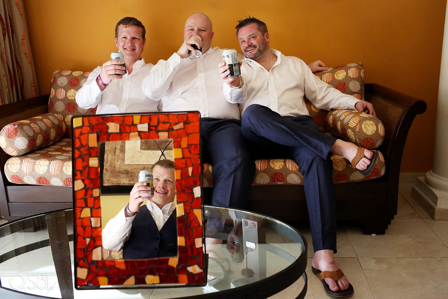 creative photo groomsmen getting ready Barcelo Maya Palace Wedding