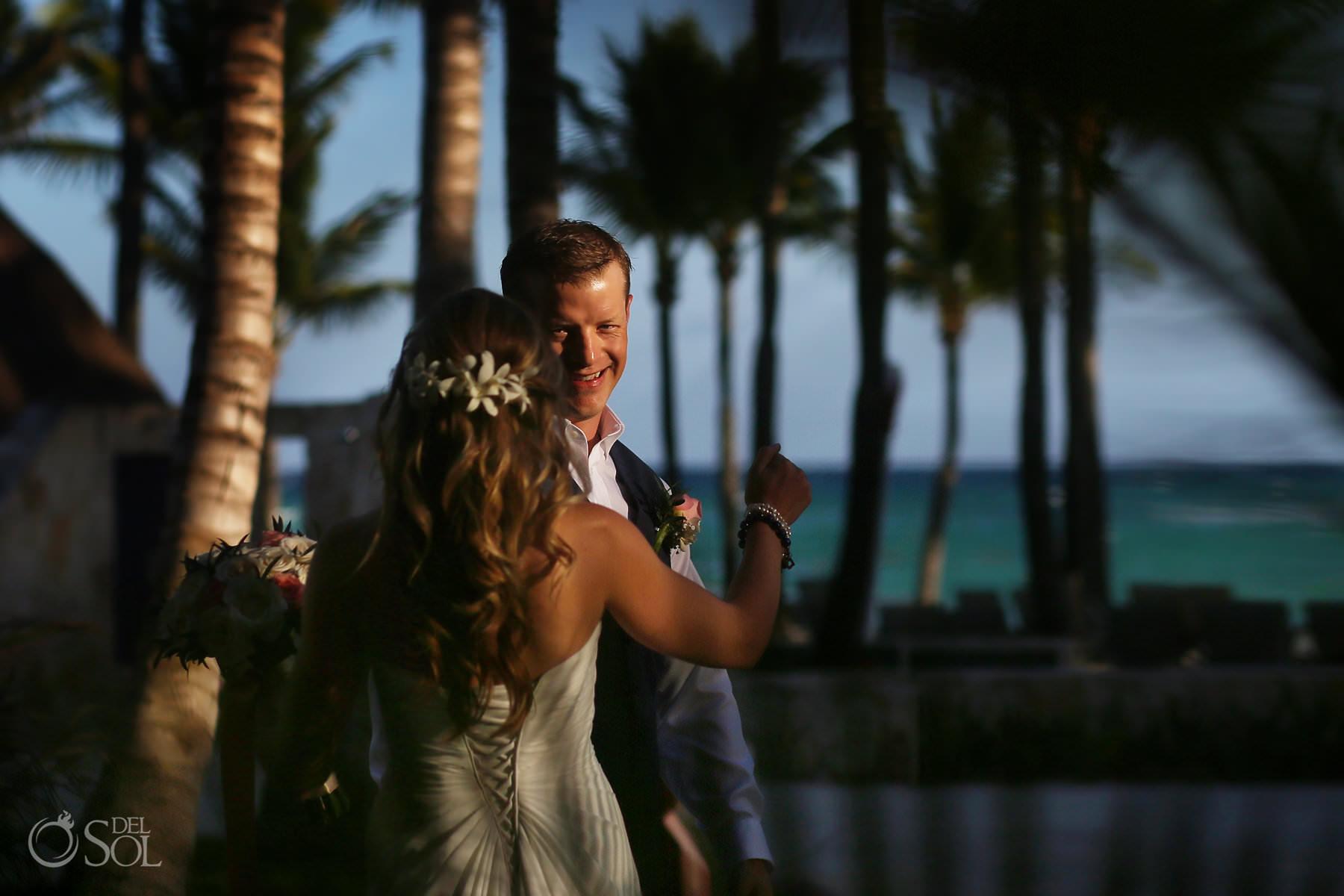 grooms first look Barcelo Maya Palace Wedding
