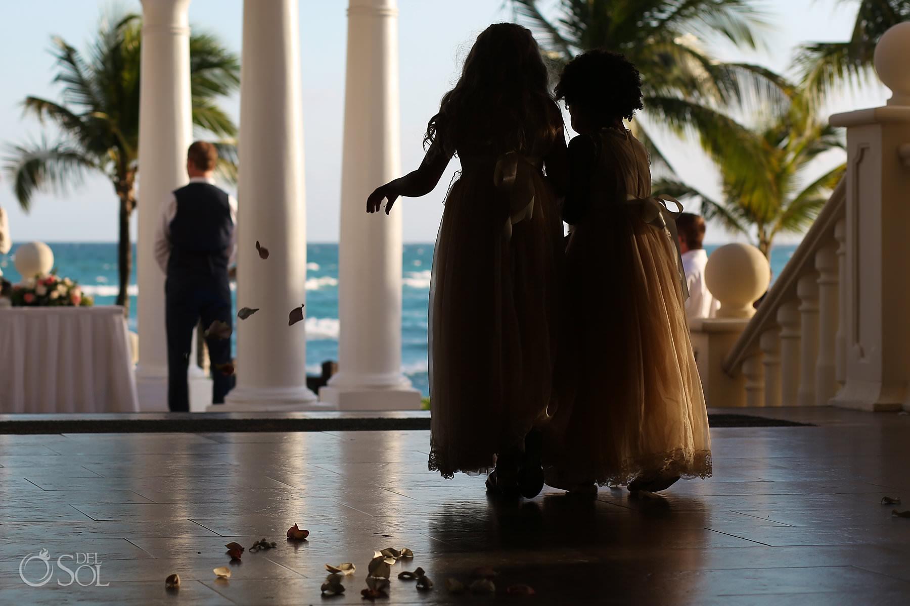 flower girls silhouettes Barcelo Maya Palace gazebo Wedding ceremony