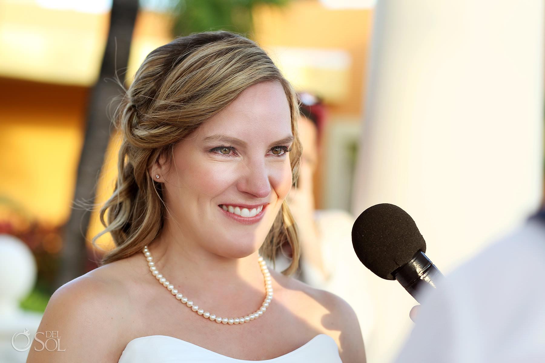 Emotional bride Barcelo Maya Palace Wedding ceremony