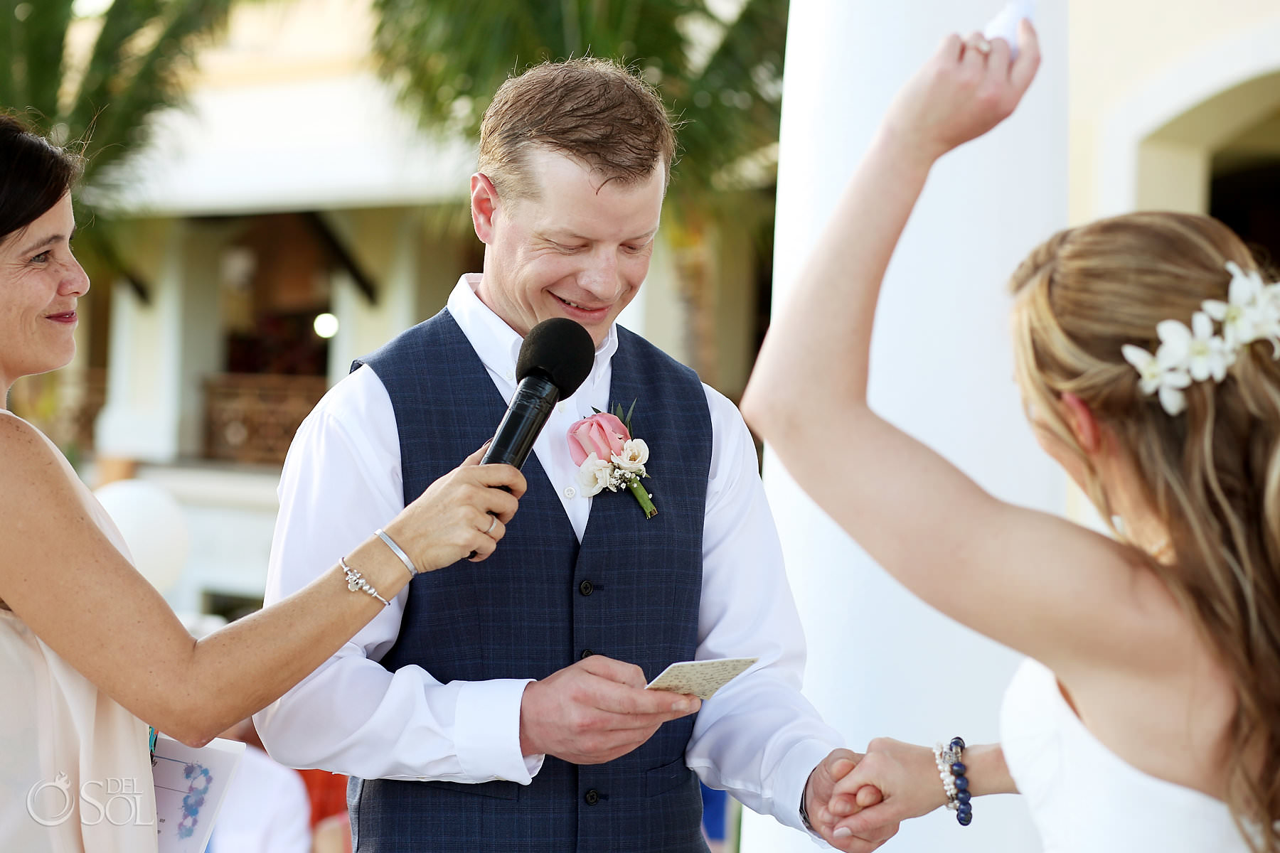 Barcelo Maya Palace Wedding ceremony happy bride and groom