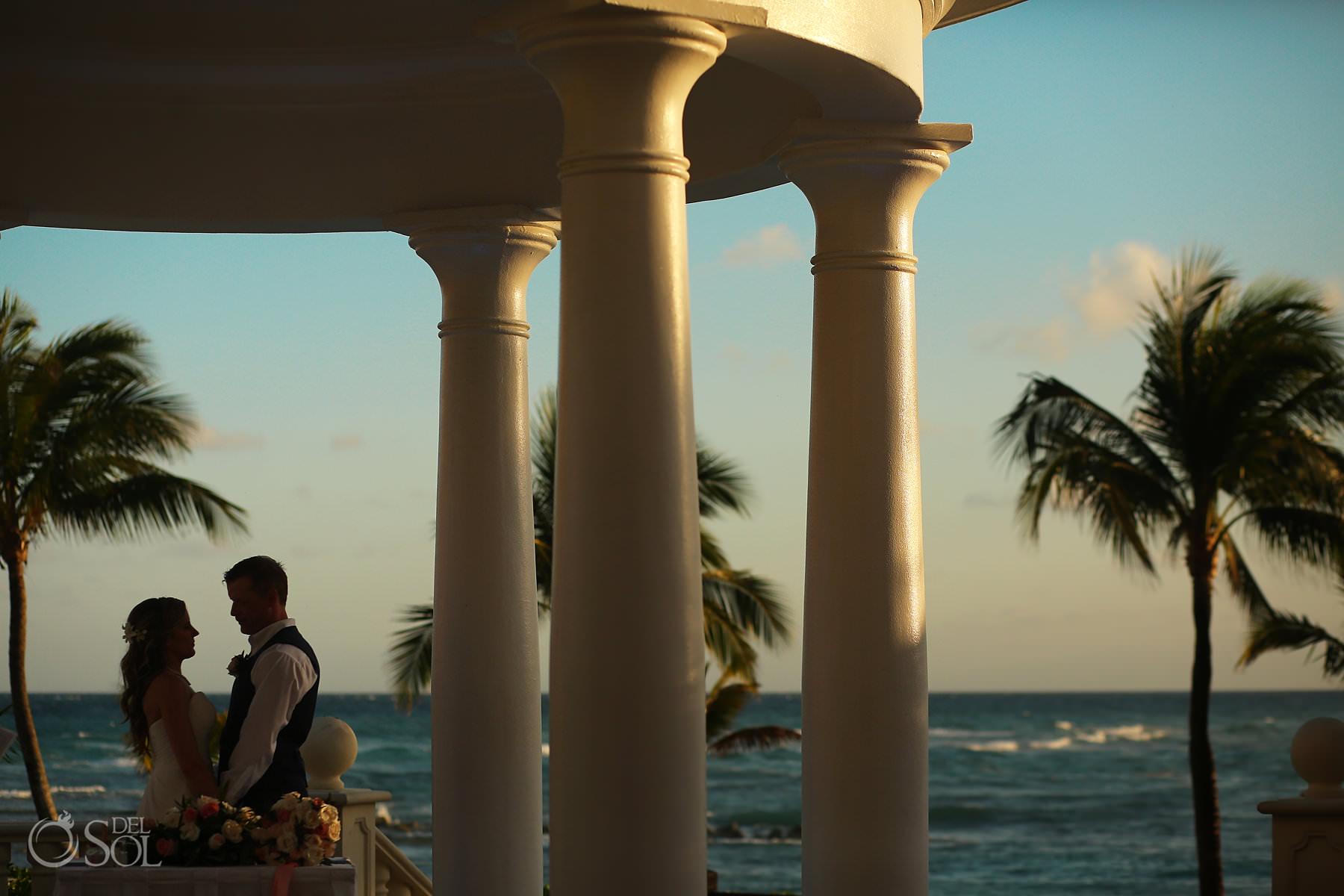 Gazebo with ocean front Barcelo Maya Palace Wedding ceremony