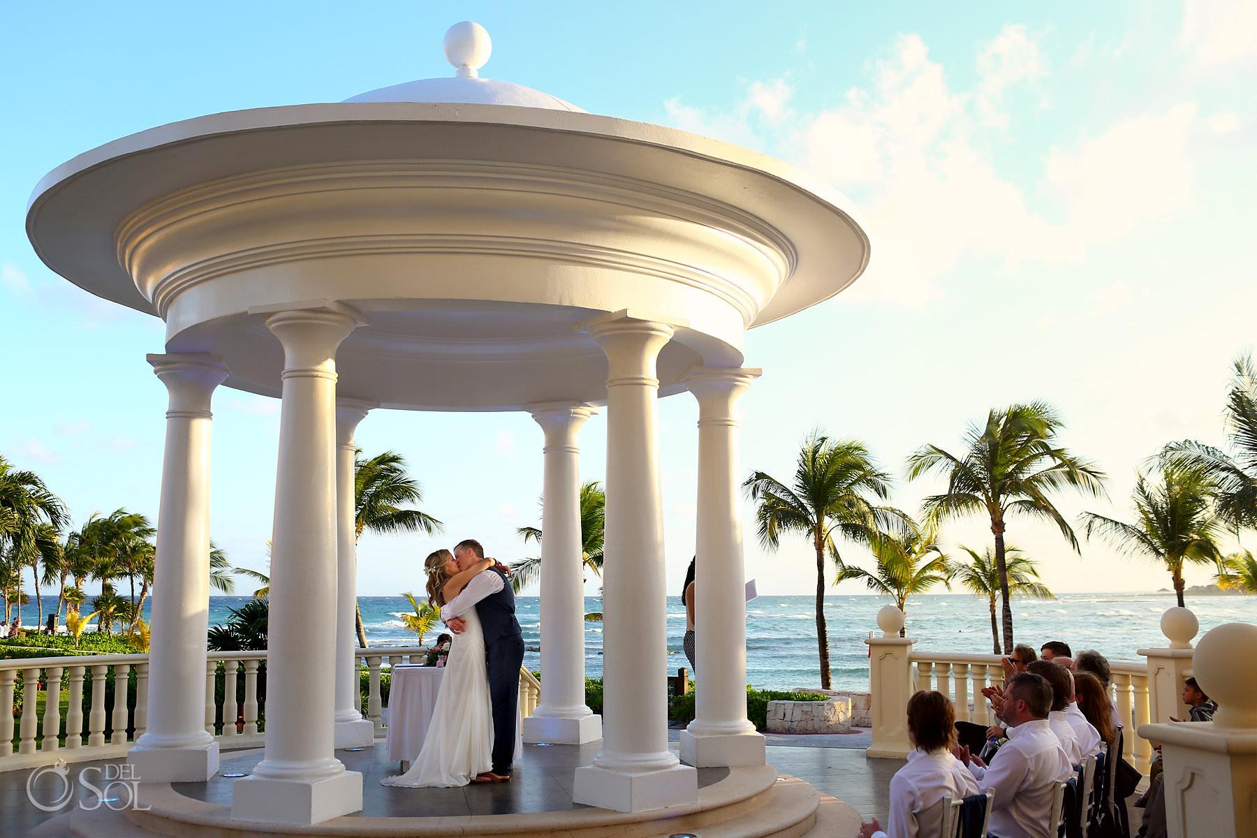 First kiss Barcelo Maya Palace gazebo Wedding ceremony photography