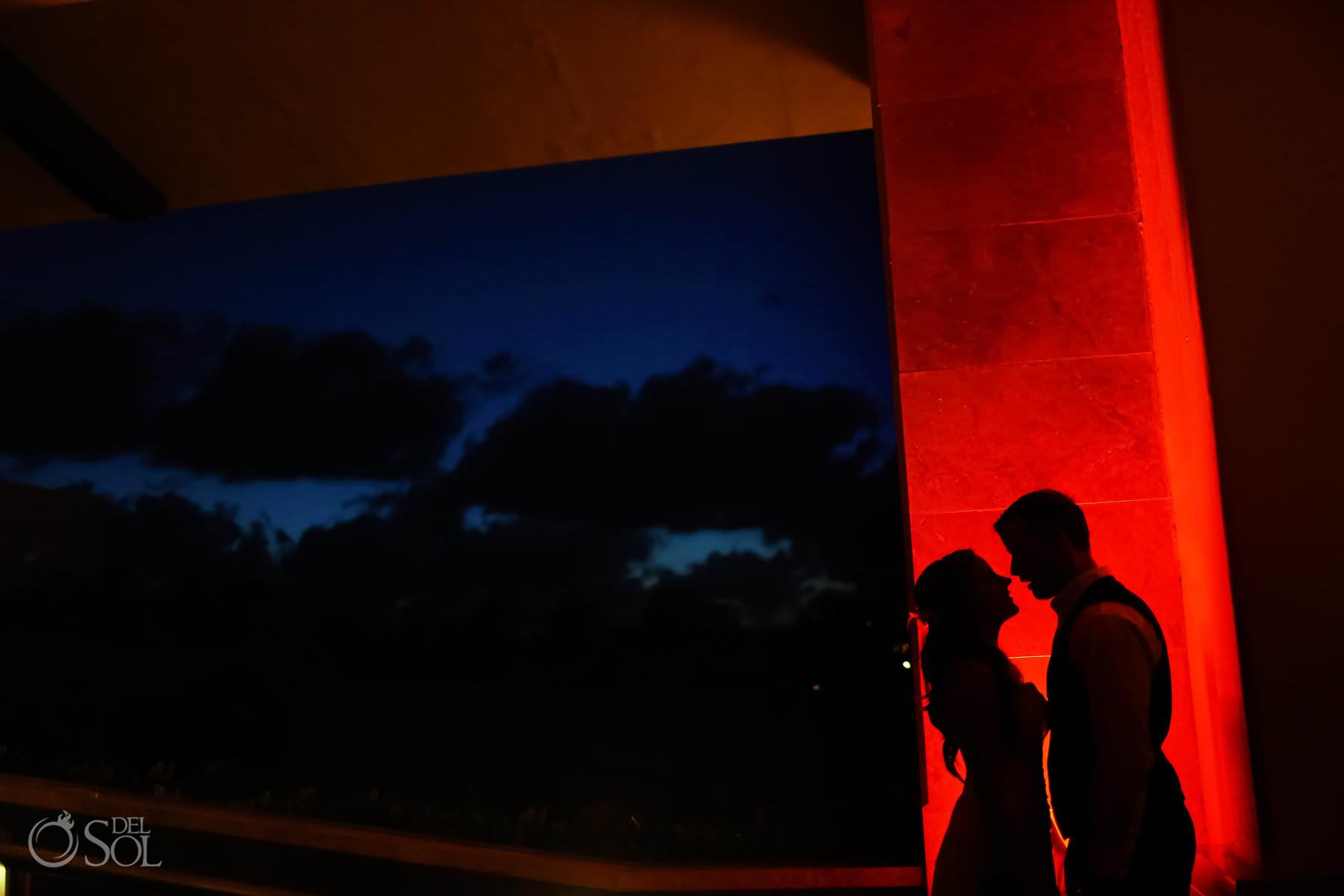 creative night portraits at Barcelo Maya Palace Wedding