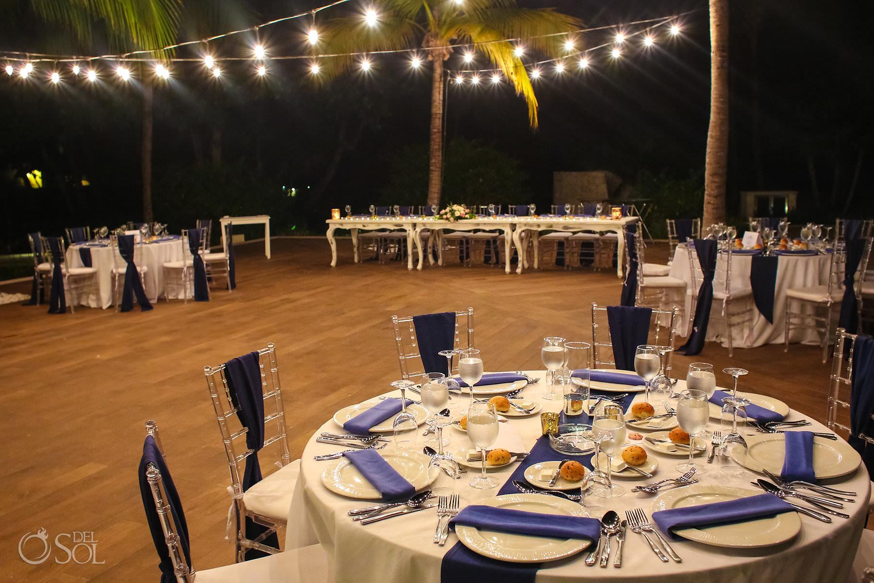 Barcelo Maya Palace Wedding Captain Morgan Grill reception setup Riviera Maya Mexico